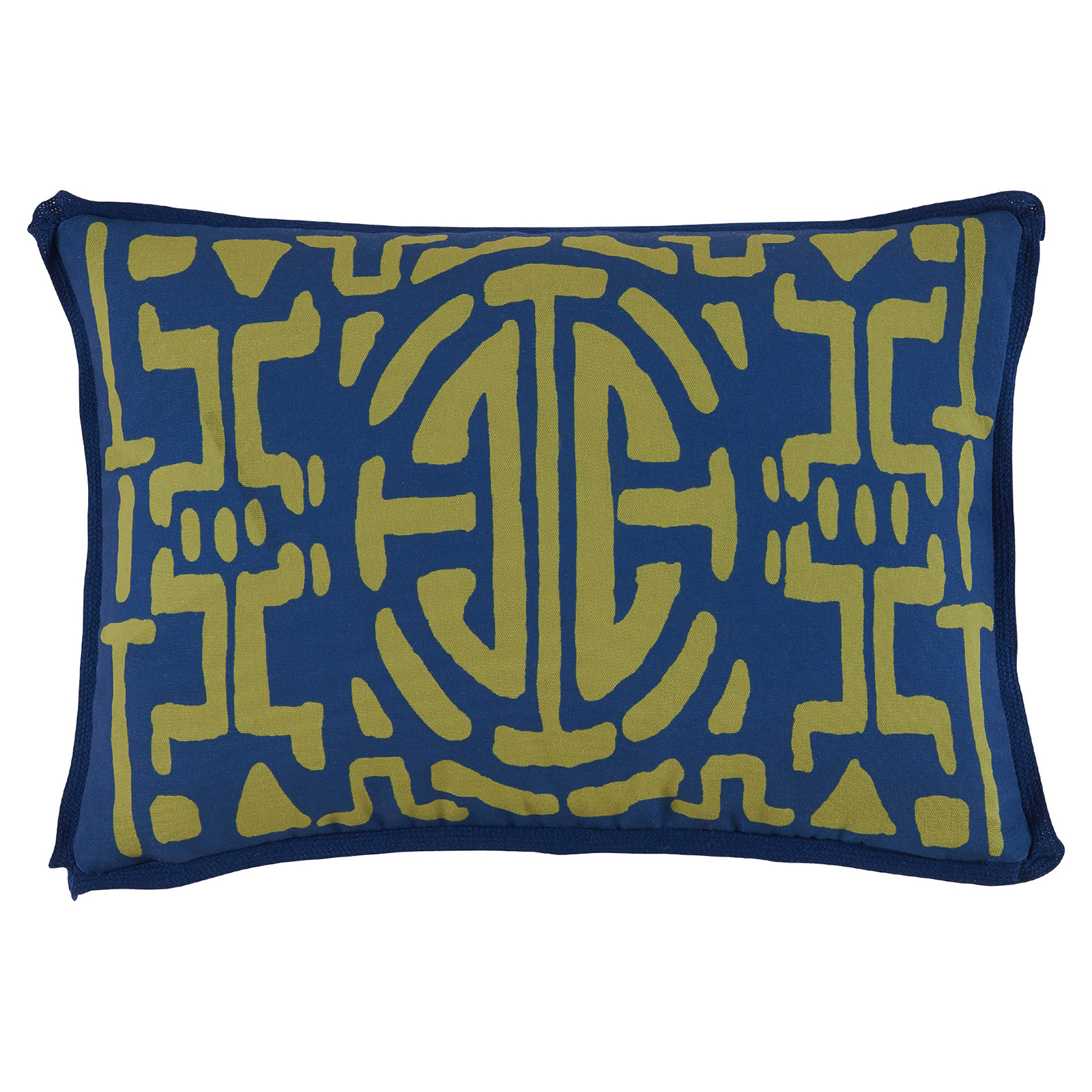 Nava Global Green Abstract Outdoor Navy Pillow - 13x19
