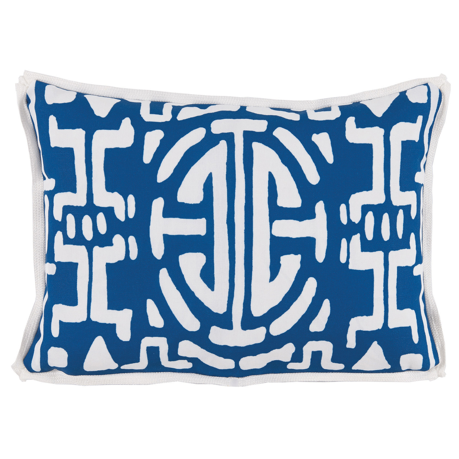 Nava Global Navy White Abstract Outdoor Pillow - 13x19