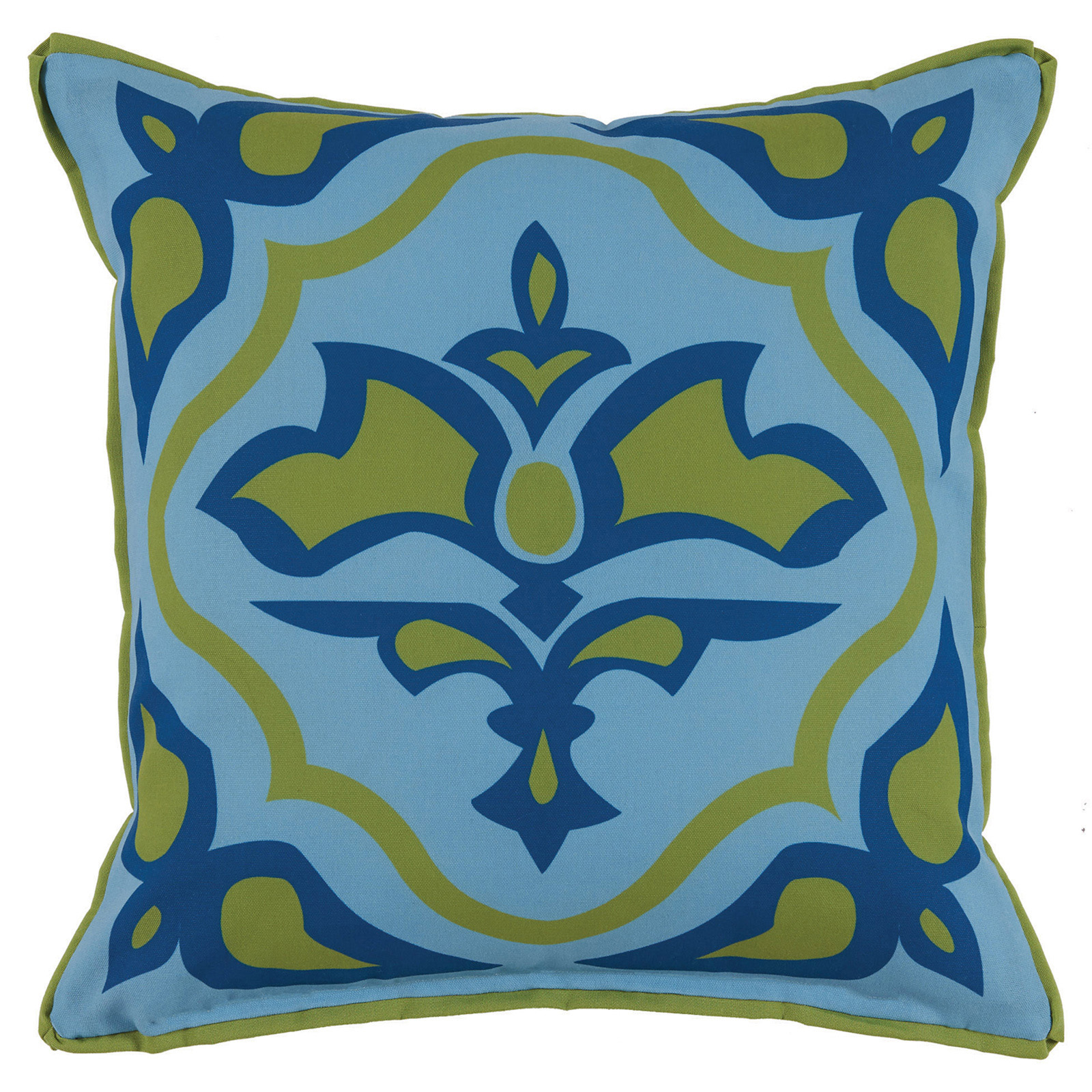 Julie Regency Abstract Olive Blue Outdoor Pillow - 20x20