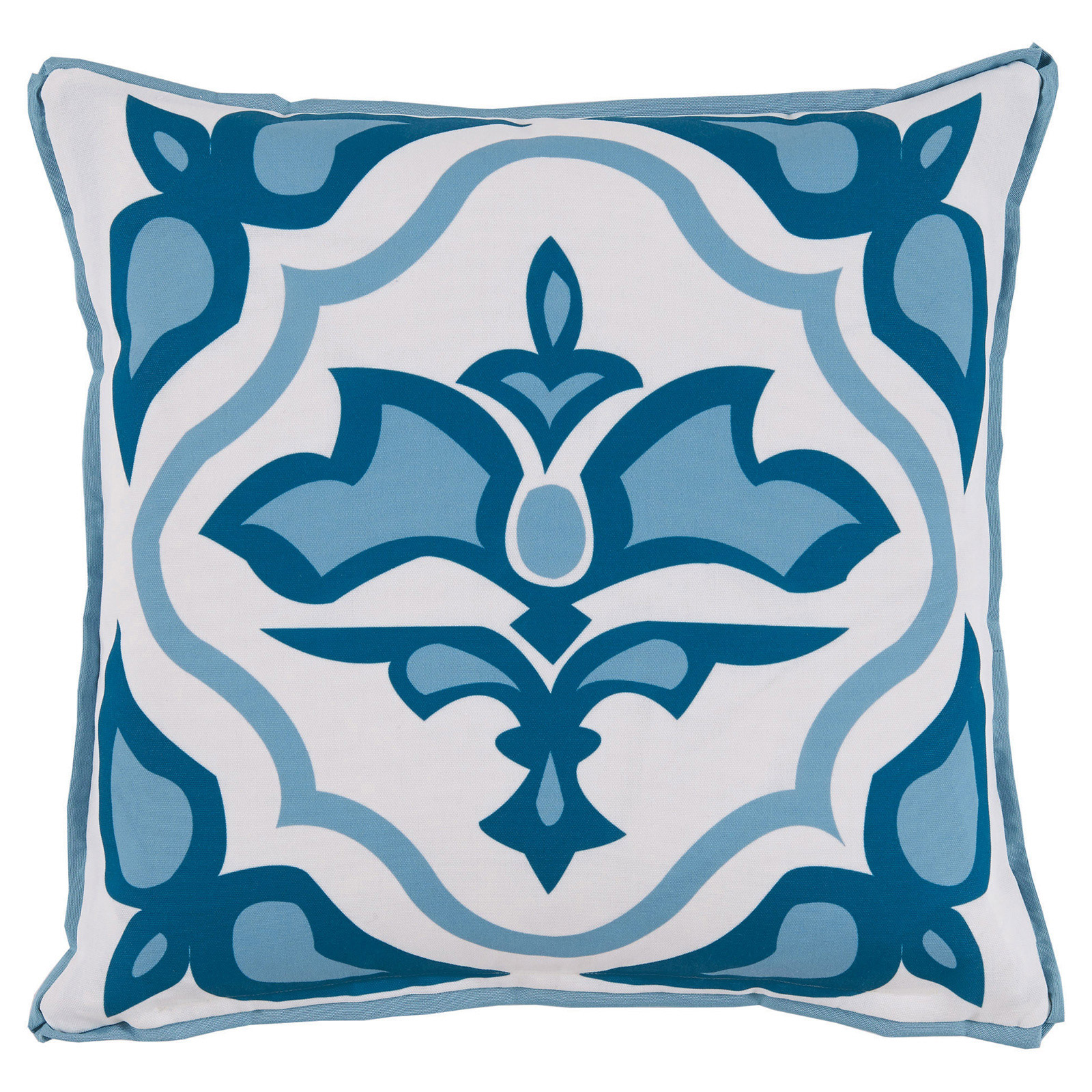 Julie Regency Abstract Sky Blue Outdoor Pillow - 20x20