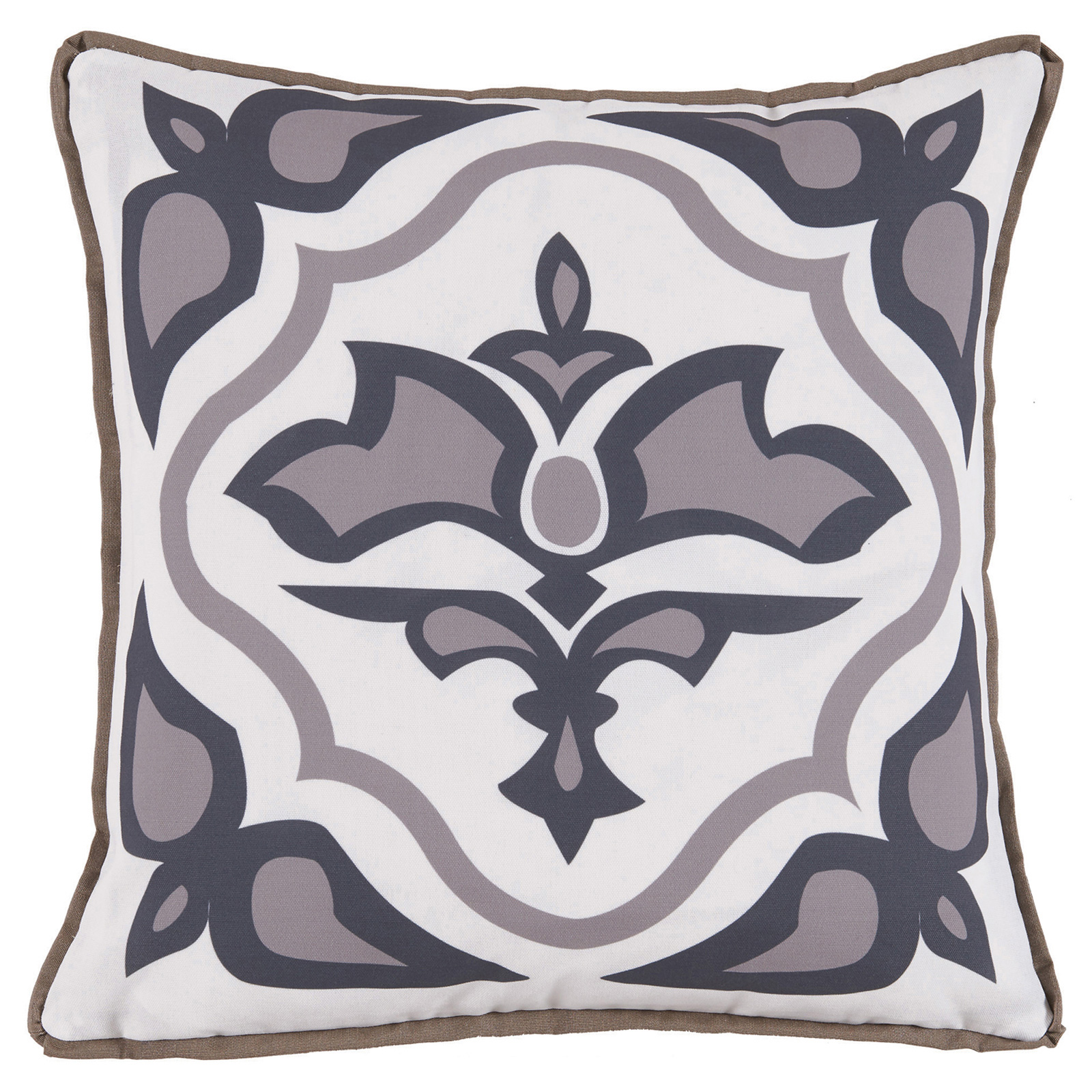 Julie Regency Abstract Taupe Grey Outdoor Pillow - 20x20