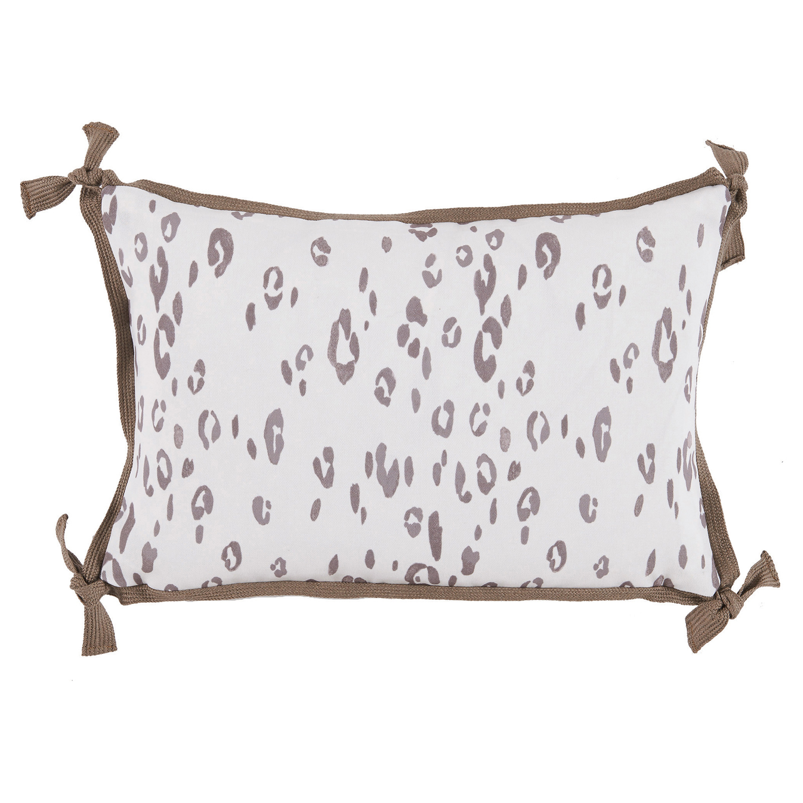 Hildy Modern Taupe Leopard Tie Outdoor Pillow - 13x19