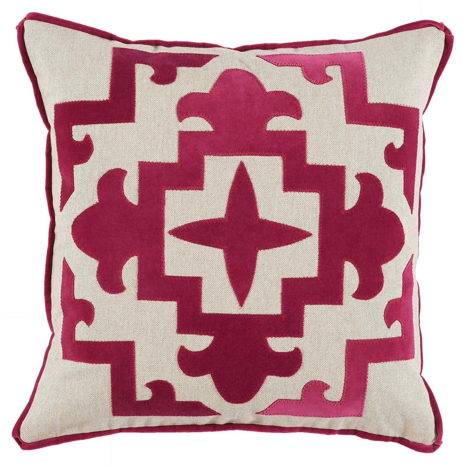 Libby Modern Classic Magenta Velvet Medallion Pillow - 22x22