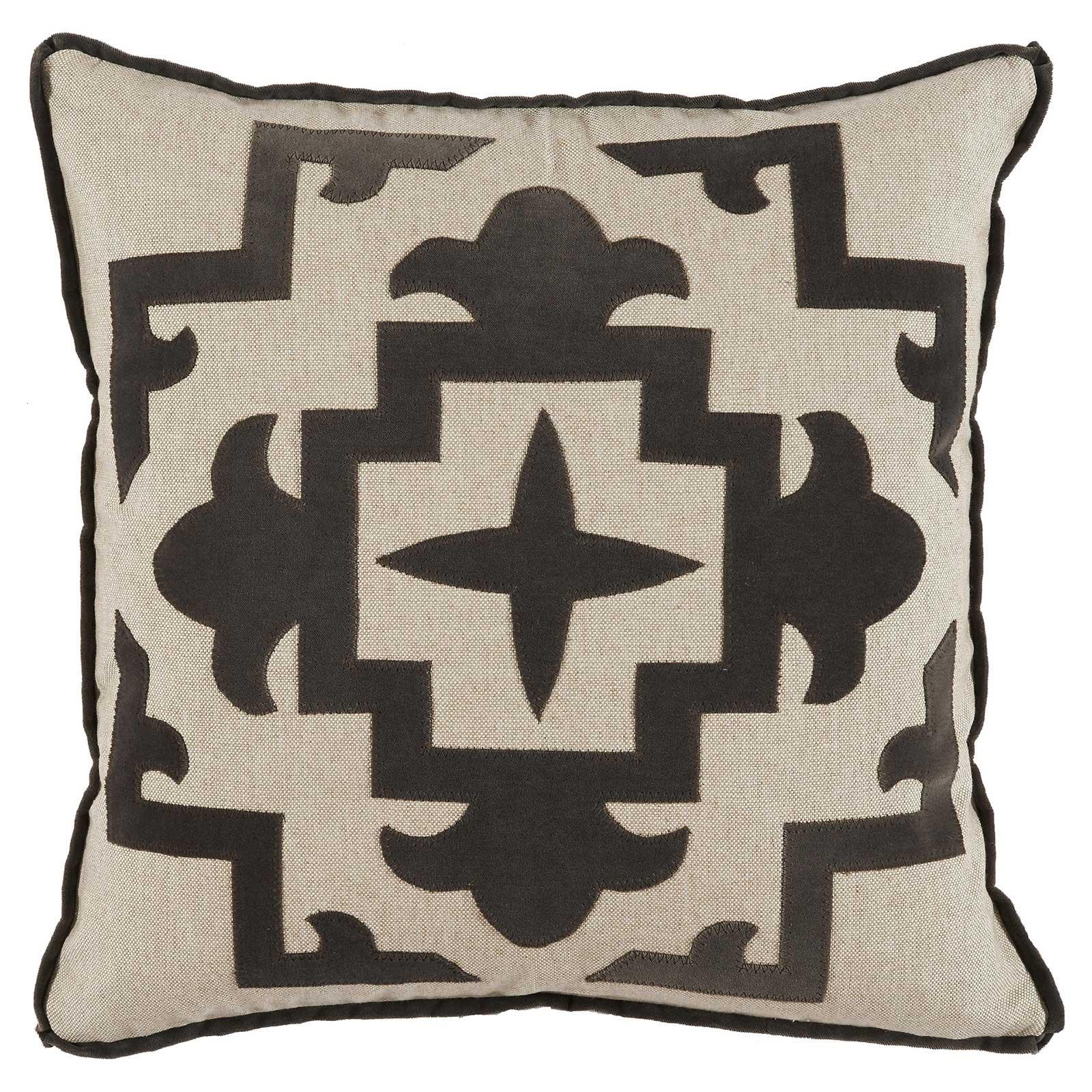 Libby Modern Classic Charcoal Velvet Medallion Pillow - 22x22