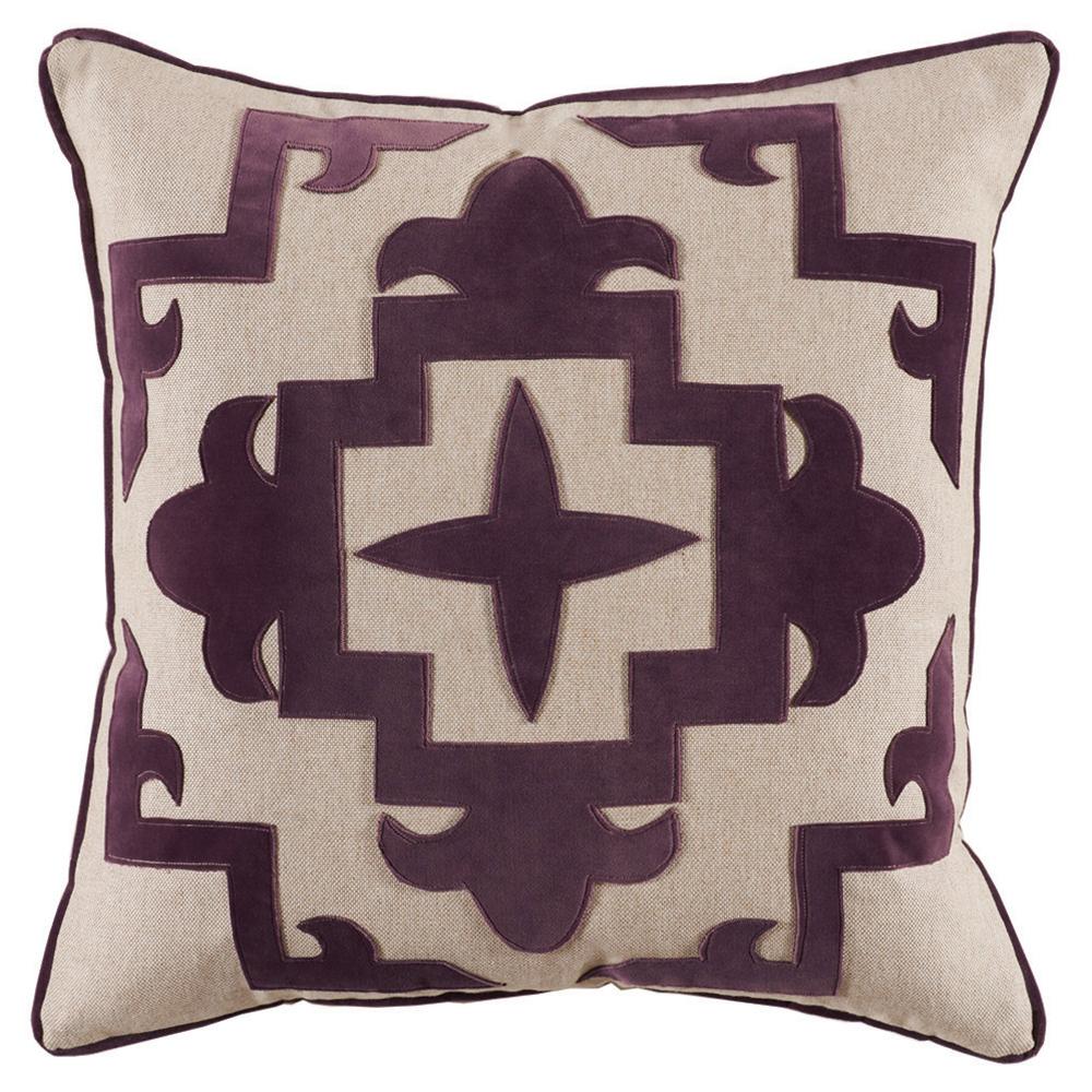 Libby Modern Classic Plum Velvet Medallion Pillow - 22x22