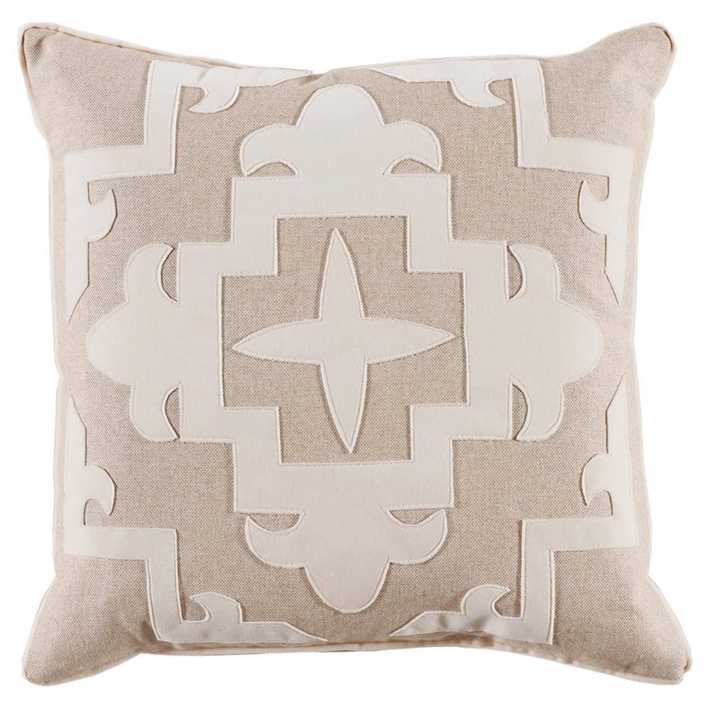 Libby Modern Classic Ivory Velvet Medallion Pillow - 22x22