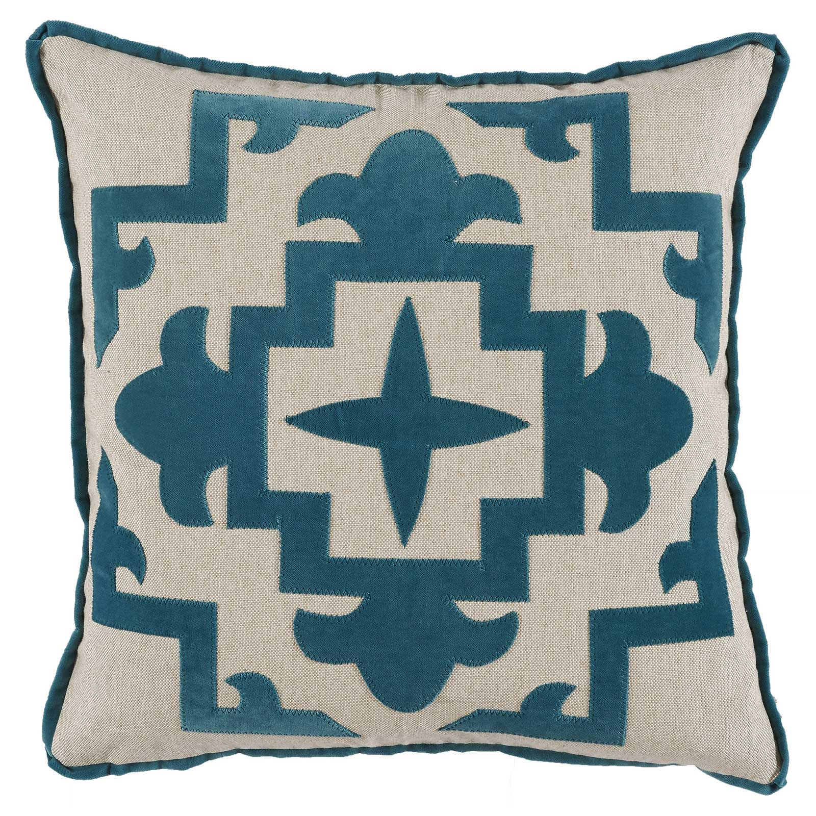 Libby Modern Classic Blue Velvet Medallion Pillow - 22x22