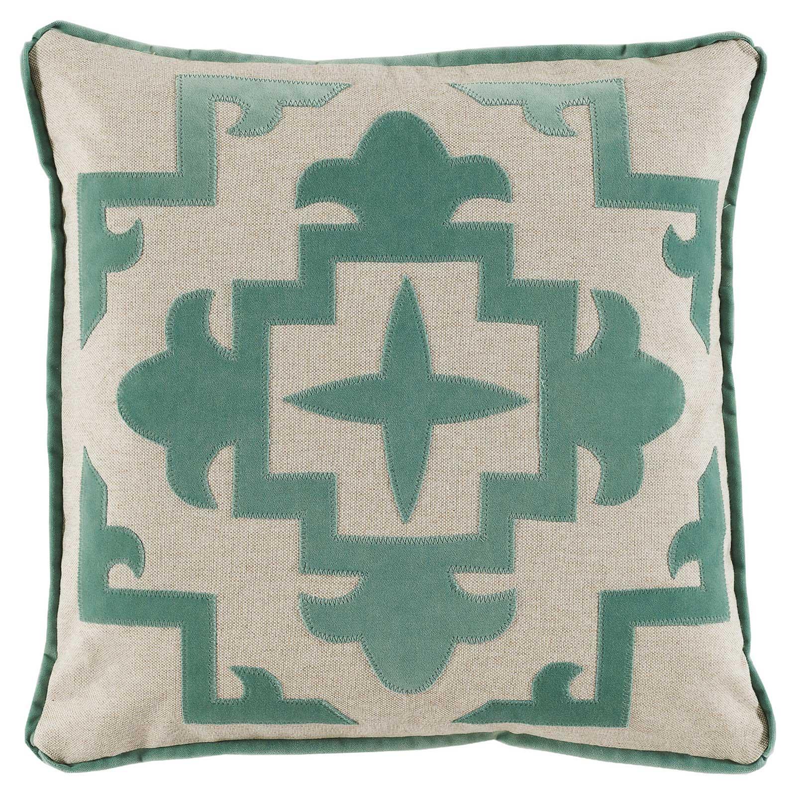 Libby Modern Classic Sea Green Velvet Medallion Pillow - 22x22