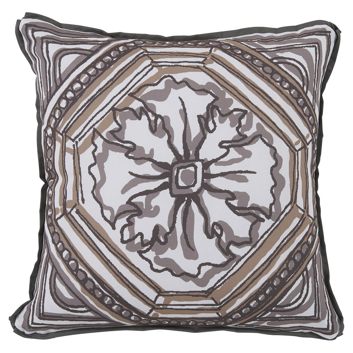 Lydie Coastal Floral Camel Sketch Outdoor Pillow - 20x20