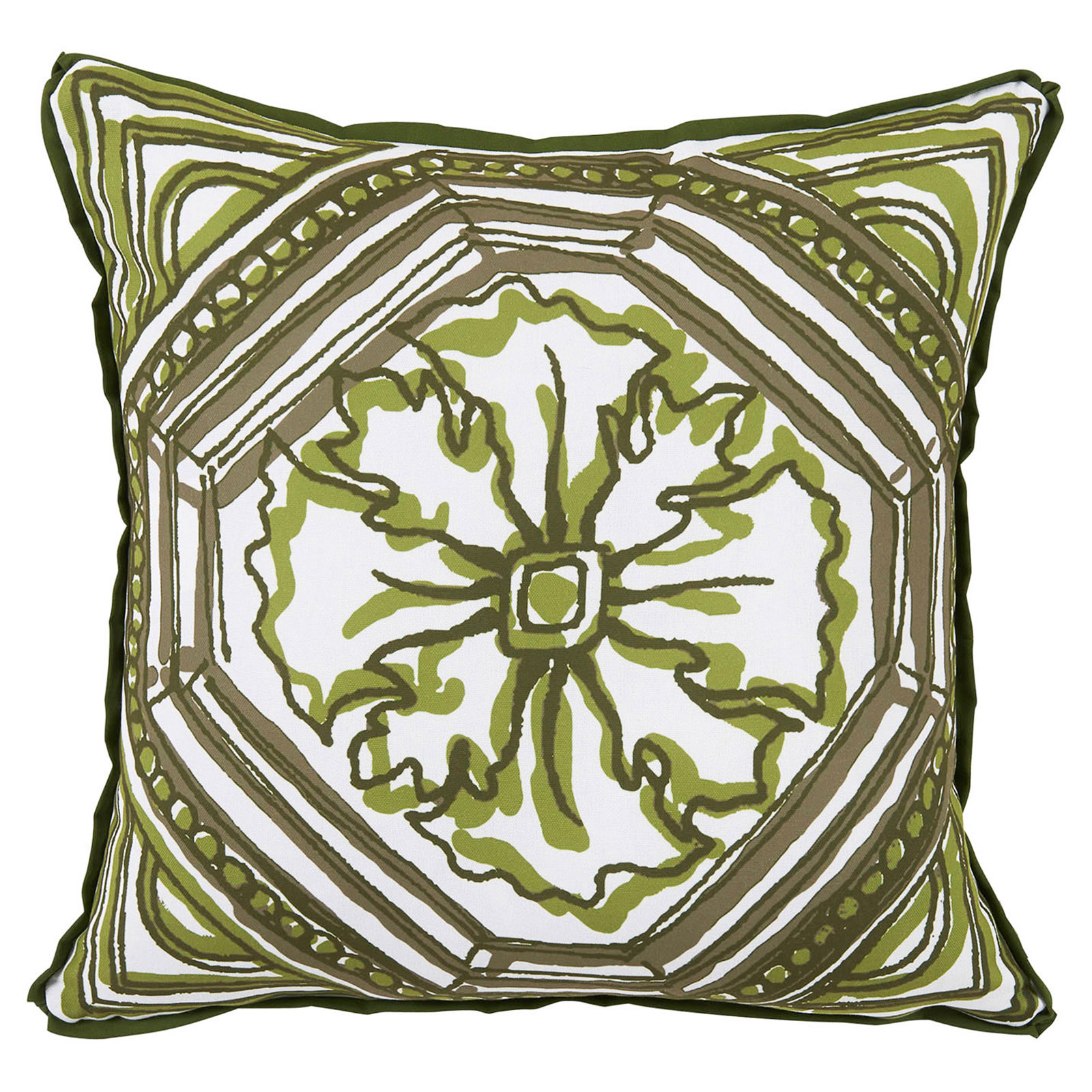 Lydie Coastal Floral Green Sketch Outdoor Pillow - 20x20