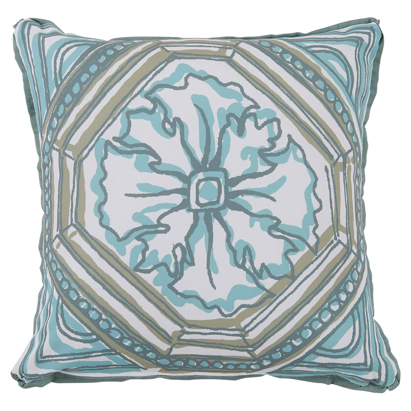 Lydie Coastal Floral Aqua Sketch Outdoor Pillow - 20x20