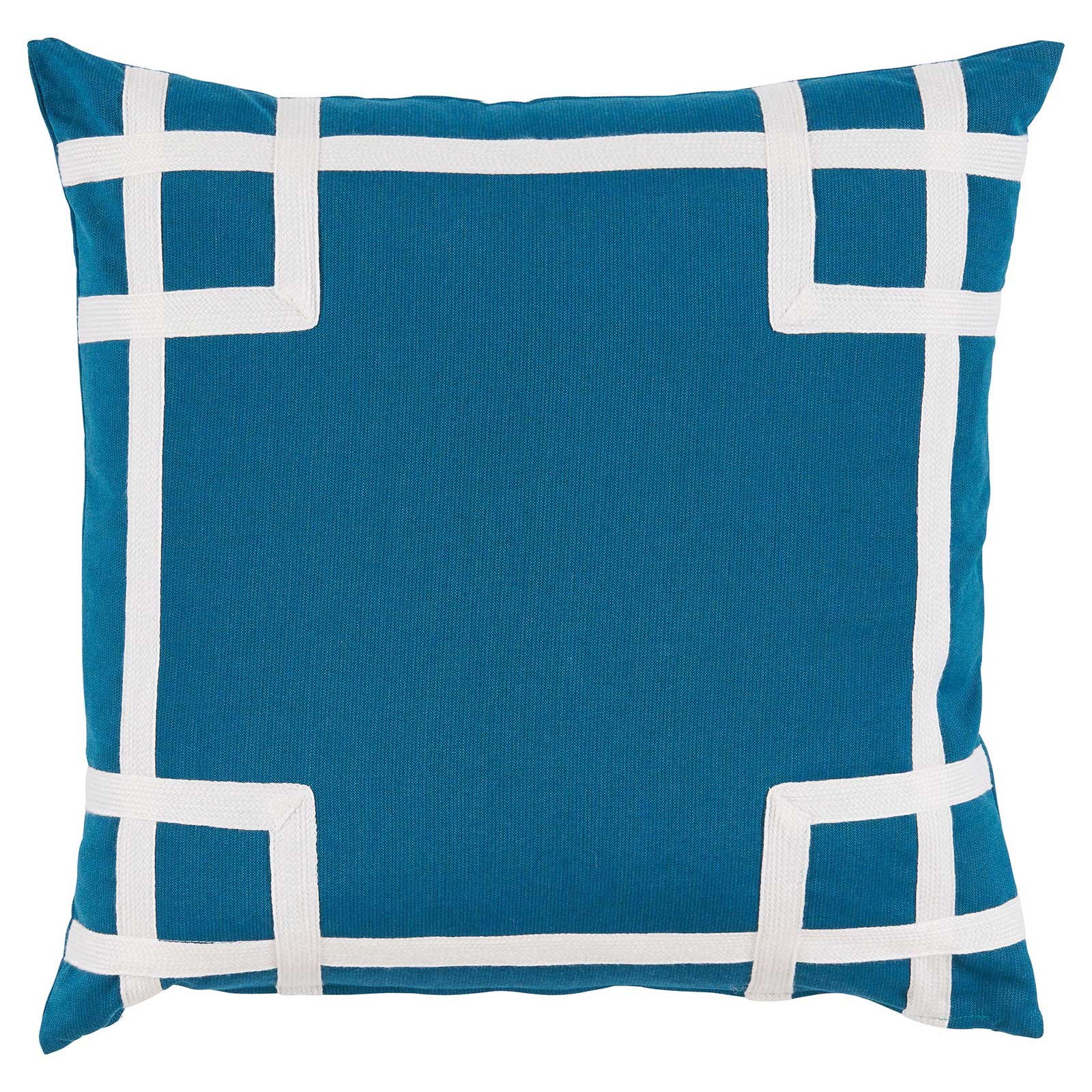 Paton Classic Outdoor Blue Trellis Trim Pillow - 20x20