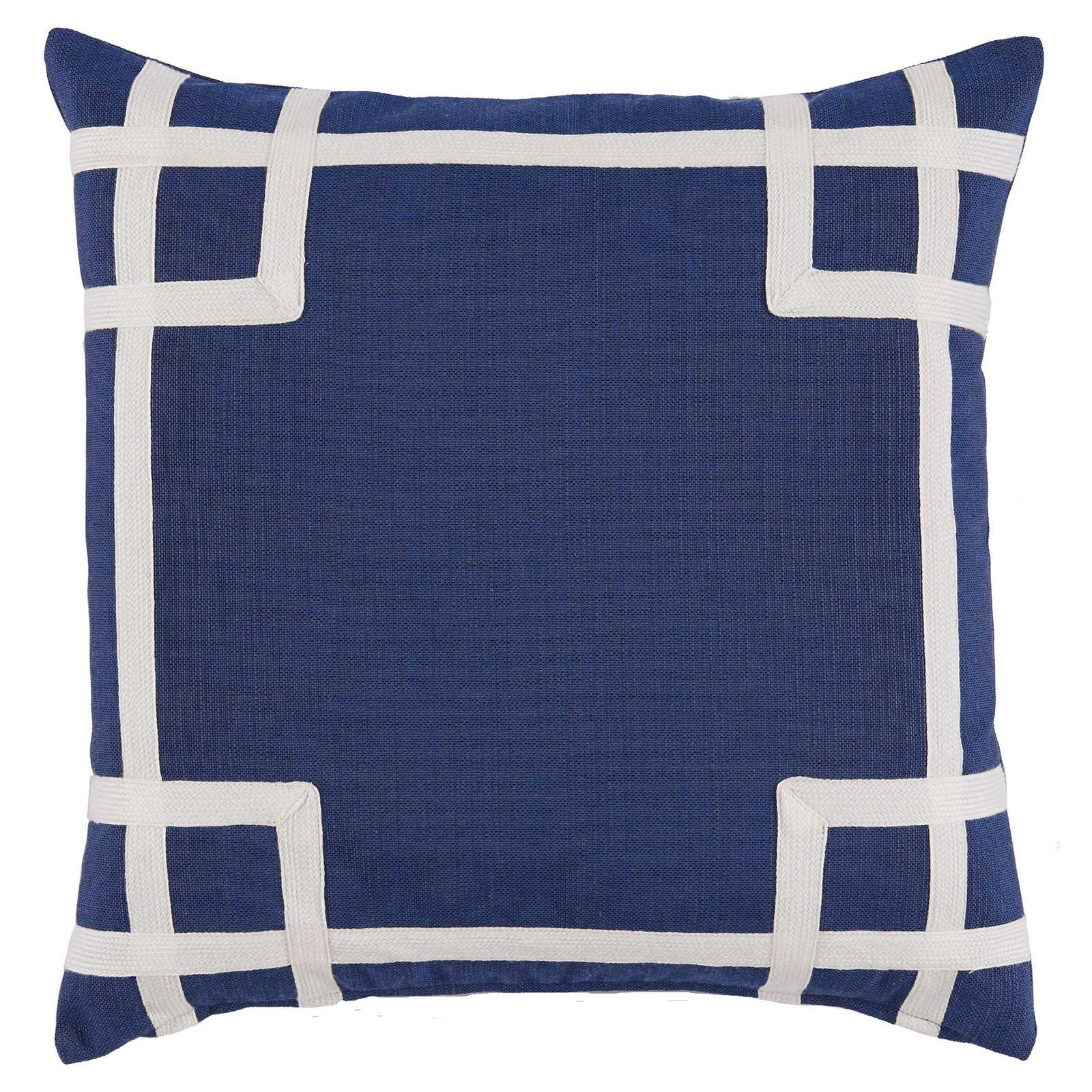 Paton Classic Outdoor Navy Trellis Trim Pillow - 20x20