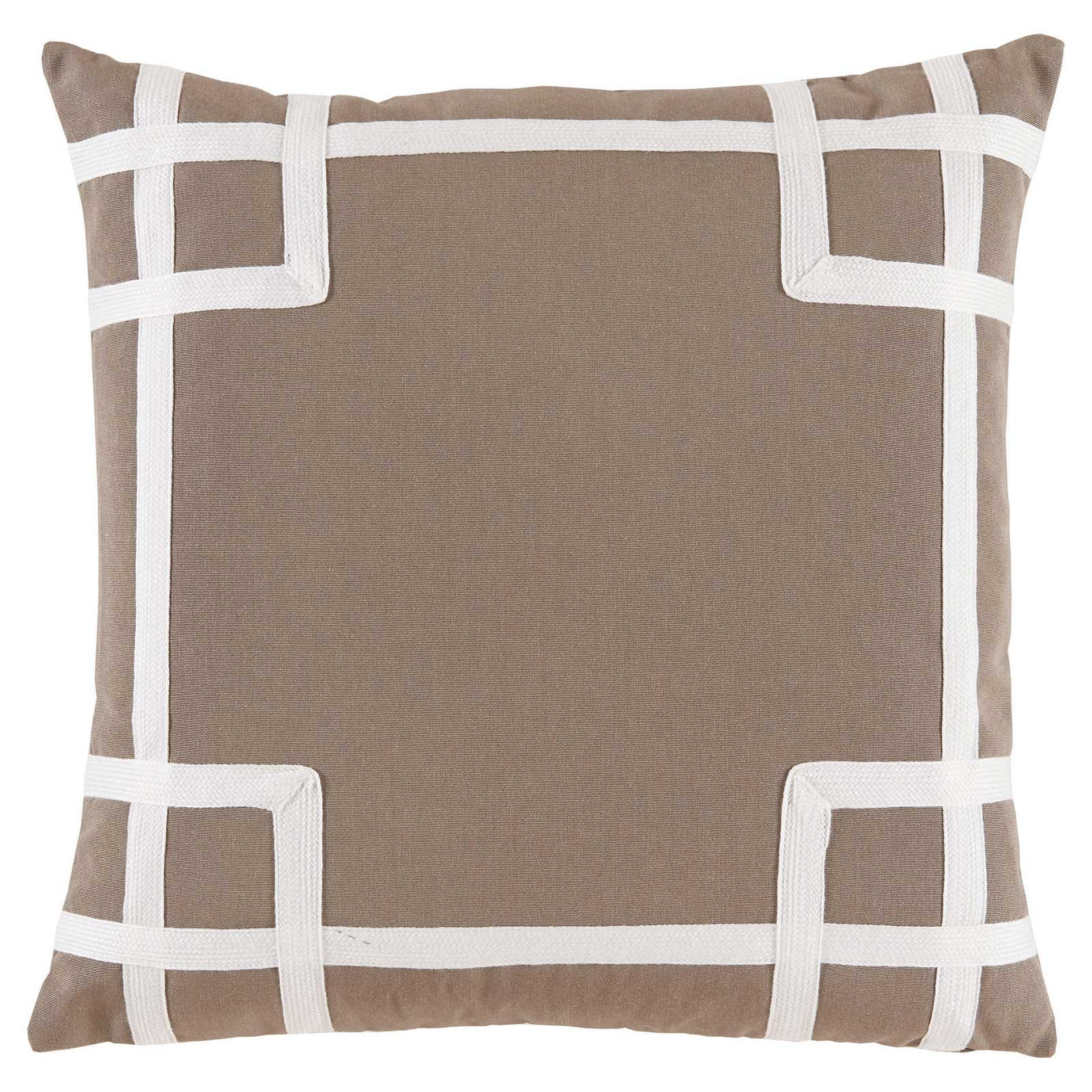 Paton Classic Outdoor Beige Trellis Trim Pillow - 20x20