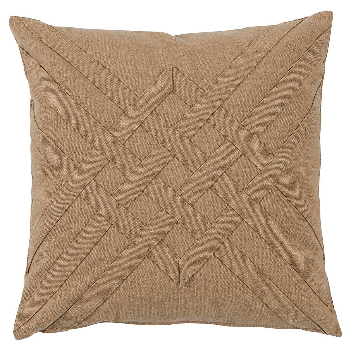 Will Modern Tan Lattice Weave Outdoor Pillow - 20x20