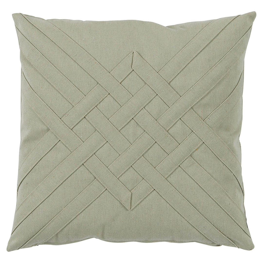 Will Modern Sage Green Lattice Weave Outdoor Pillow - 20x20