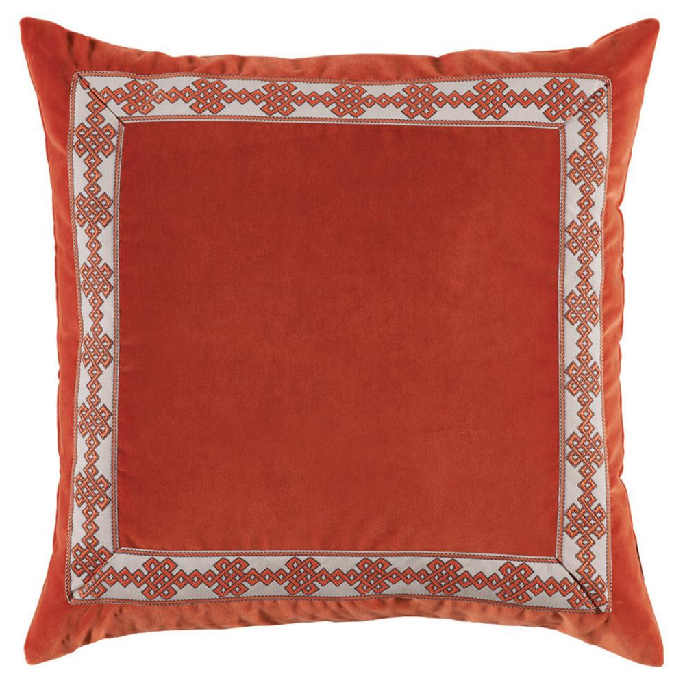Aida Global Modern Orange Trellis Trim Velvet Pillow - 22x22
