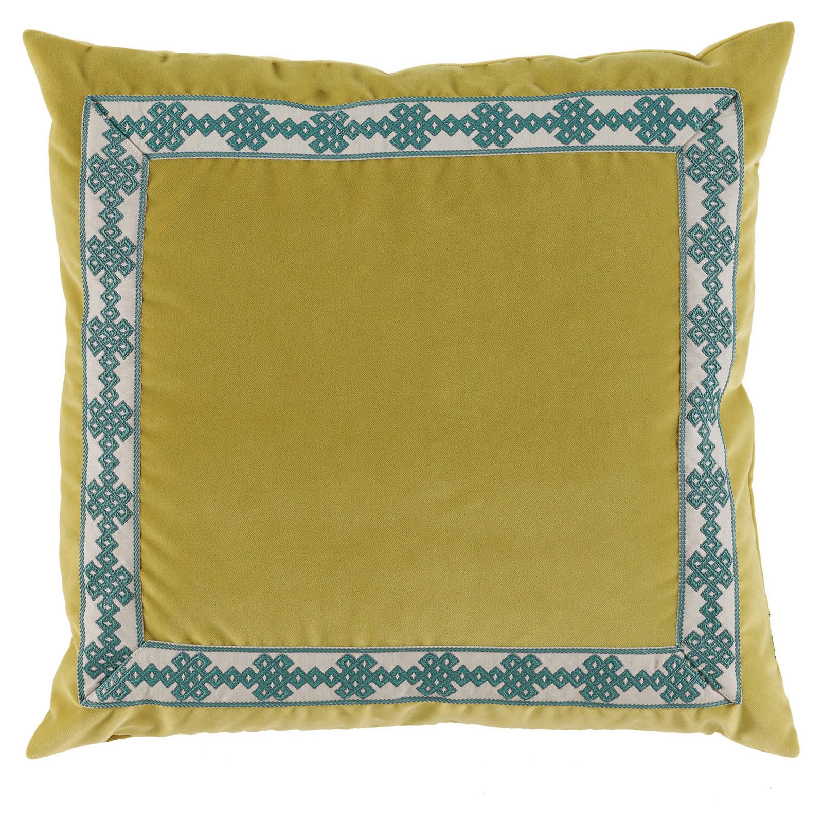 Aida Global Modern Citrus Trellis Trim Velvet Pillow - 22x22