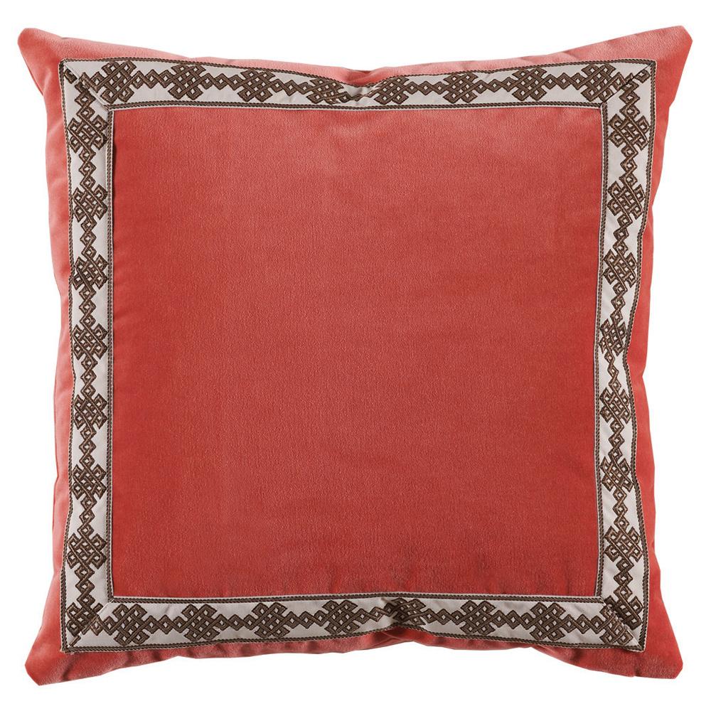 Aida Global Modern Coral Trellis Trim Velvet Pillow - 22x22