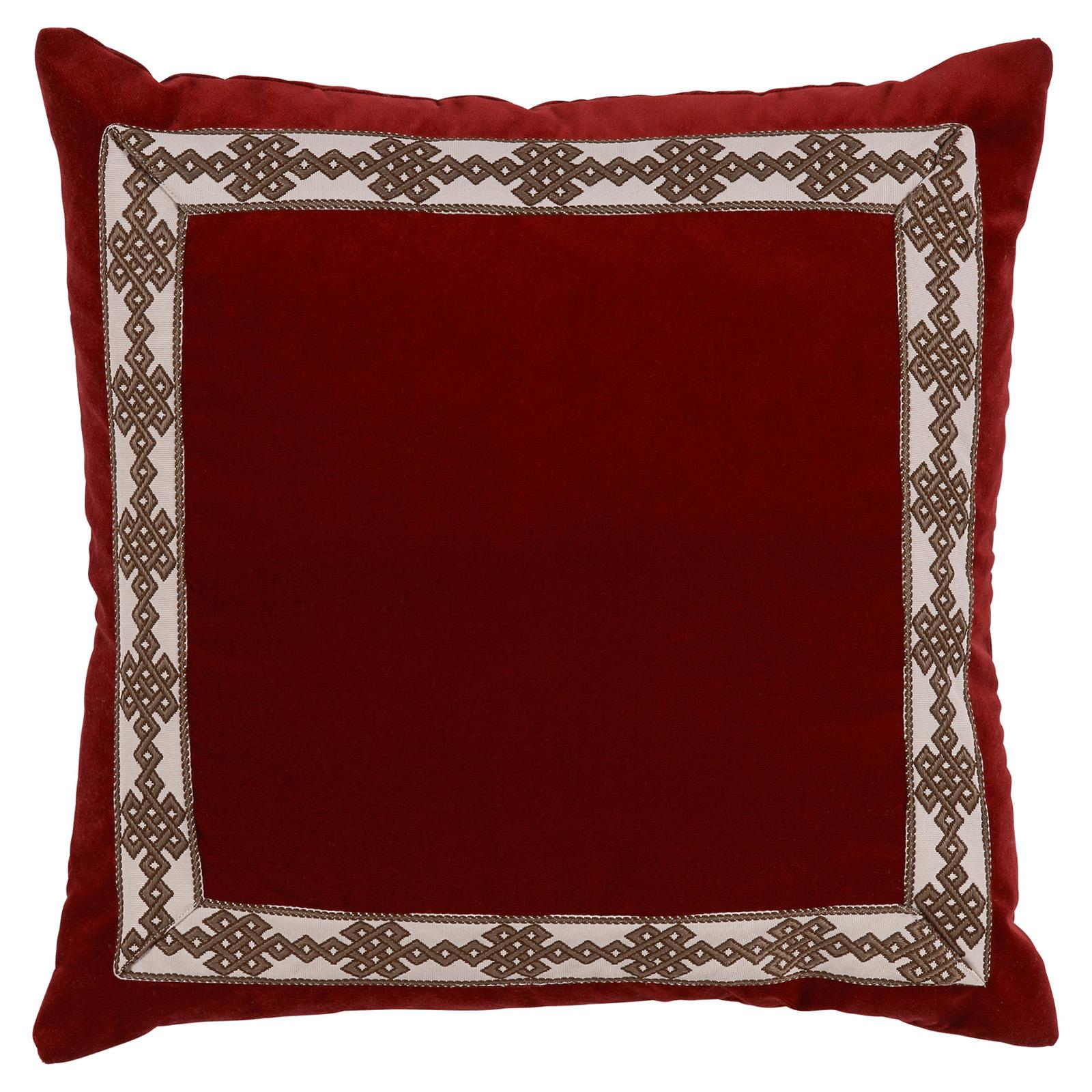 Aida Global Modern Ruby Trellis Trim Velvet Pillow - 22x22