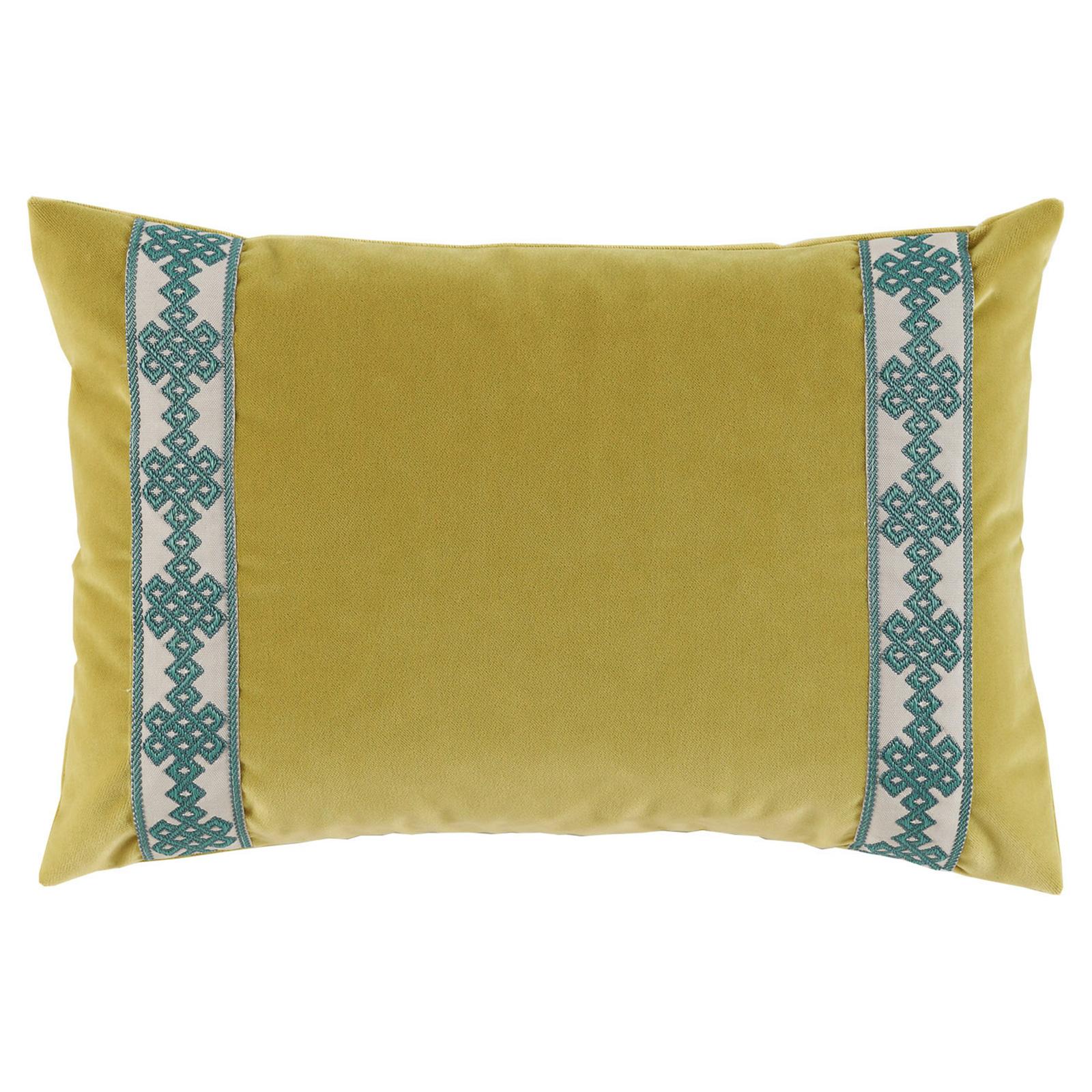 Aida Global Modern Citrus Trellis Trim Velvet Pillow - 13x19