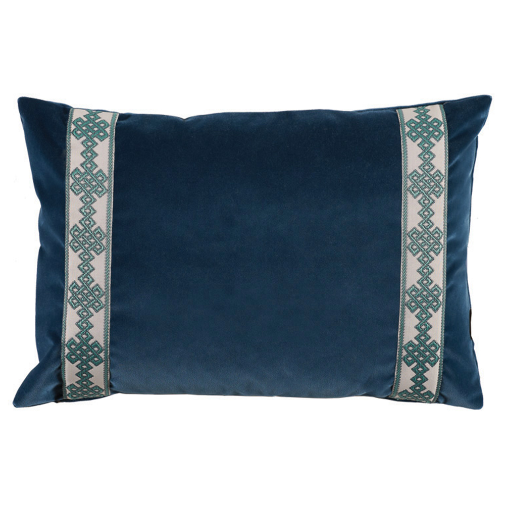 Aida Global Modern Navy Trellis Trim Velvet Pillow - 13x19
