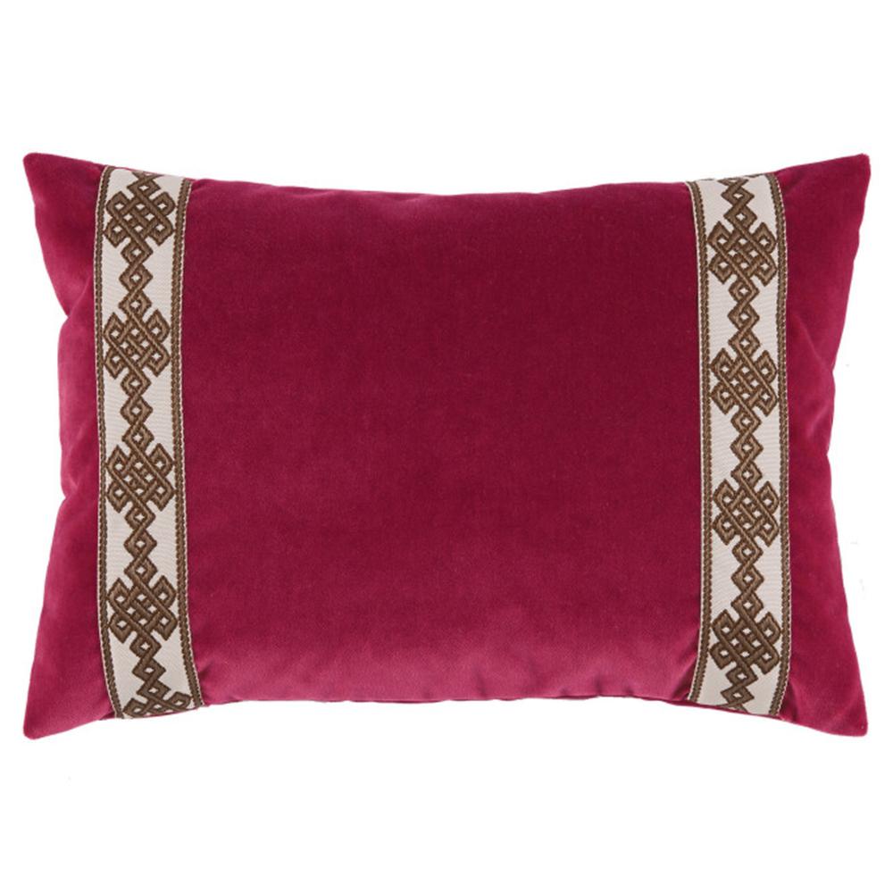 Aida Global Modern Berry Trellis Trim Velvet Pillow - 13x19