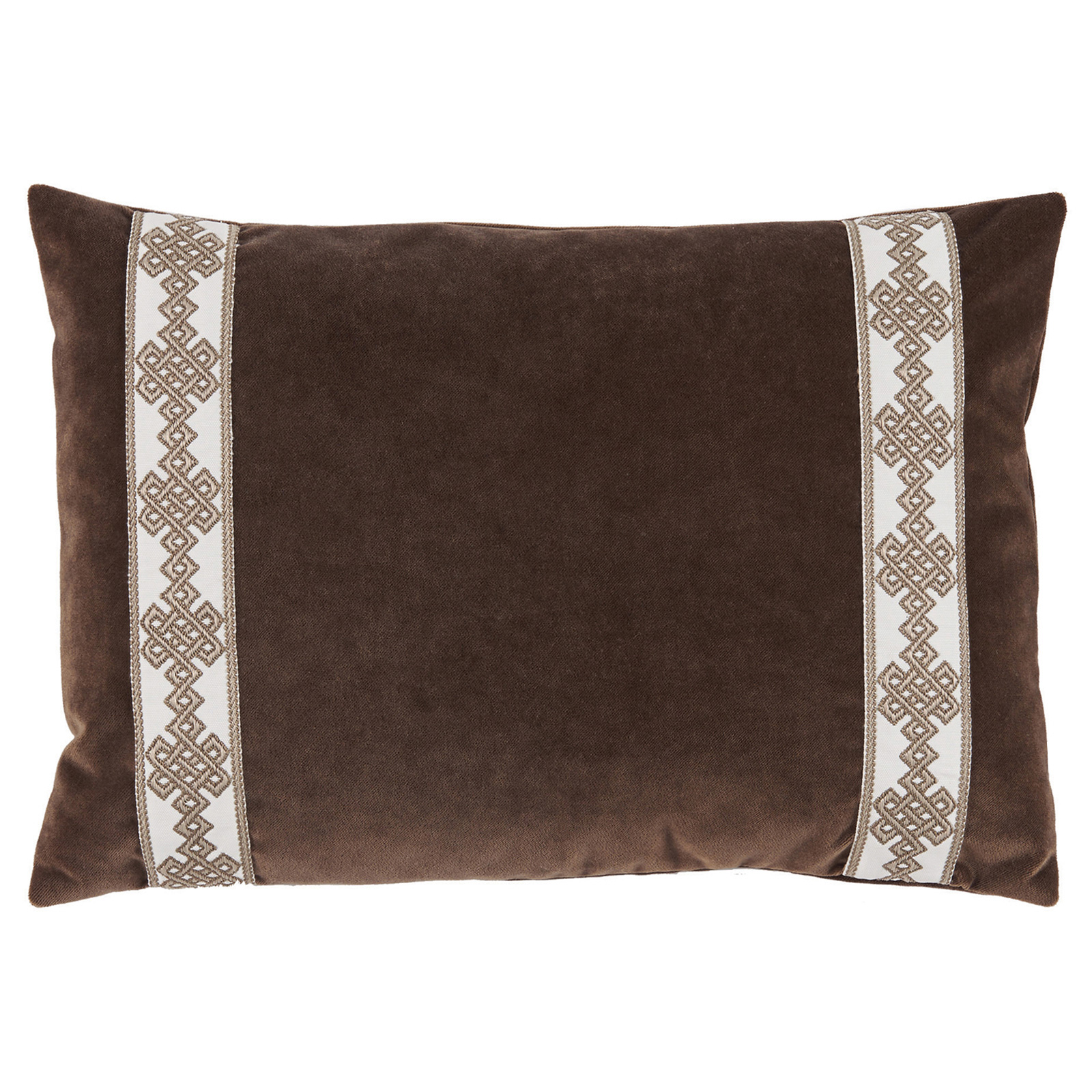 Aida Global Modern Brown Trellis Trim Velvet Pillow - 13x19