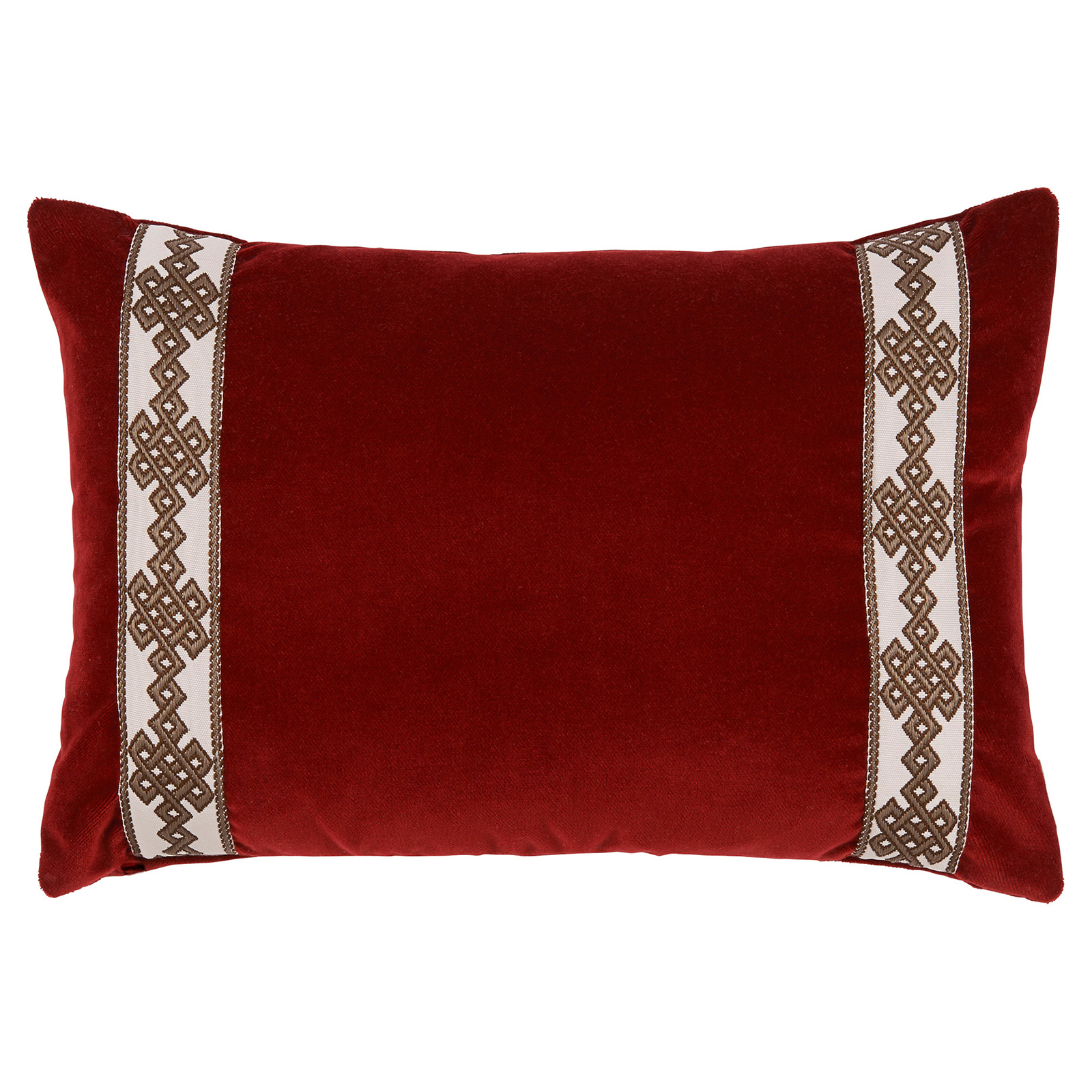 Aida Global Modern Ruby Trellis Trim Velvet Pillow - 13x19