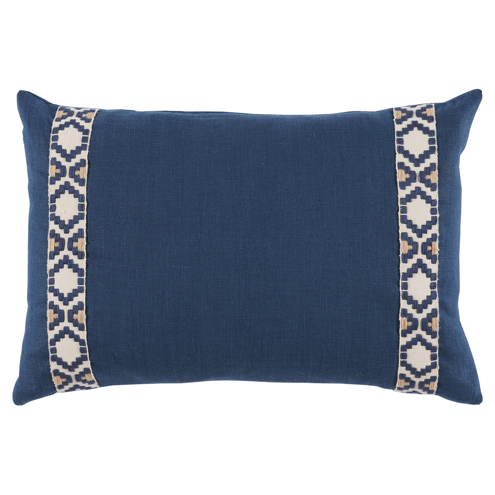 Kaia Global Navy Linen Trim Band Pillow - 13x19