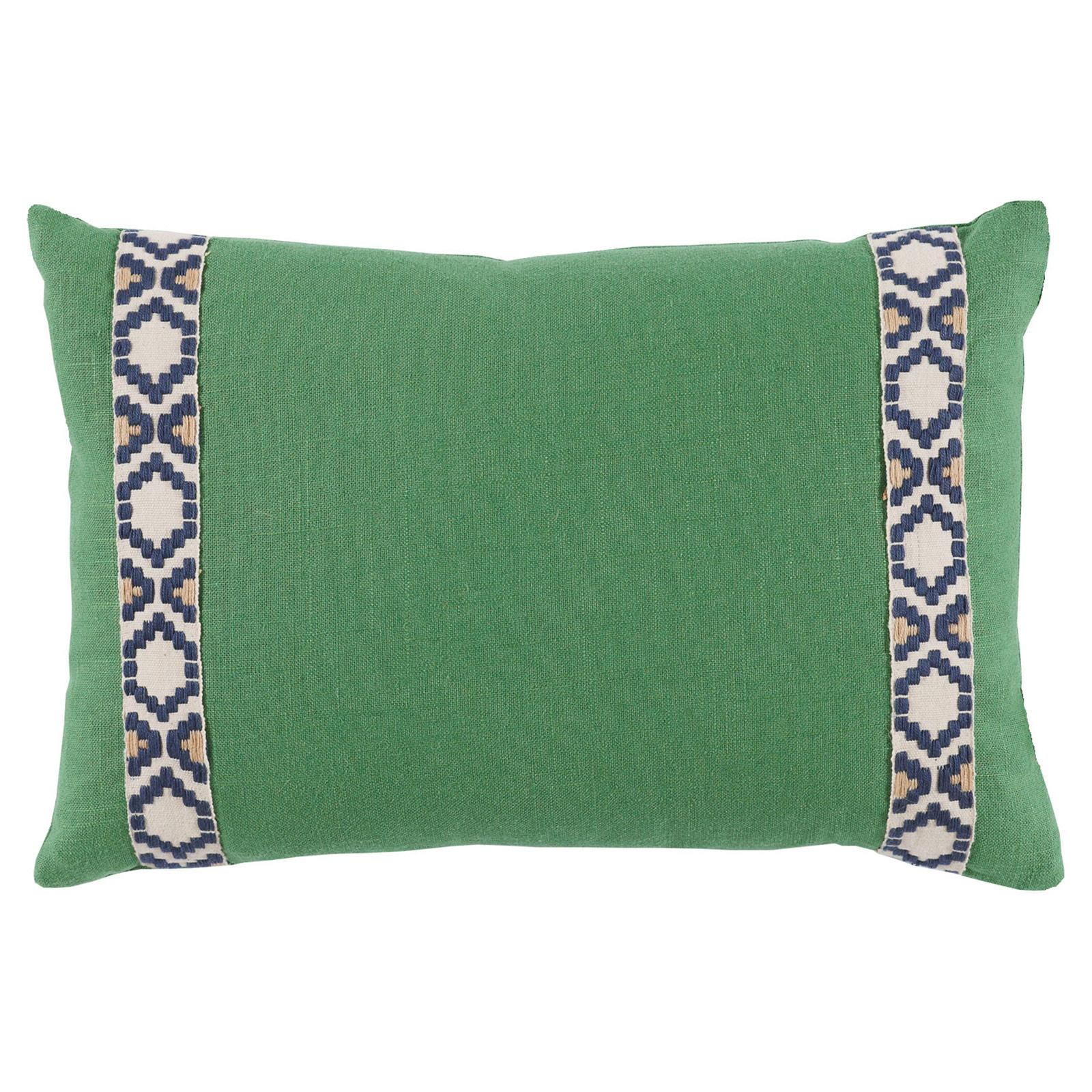 Kaia Global Green Linen Trim Band Pillow - 13x19