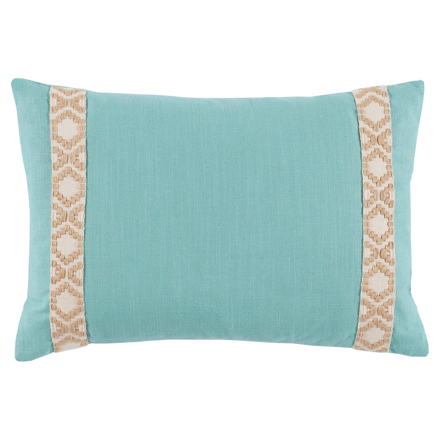 Kaia Global Aqua Linen Trim Band Pillow - 13x19