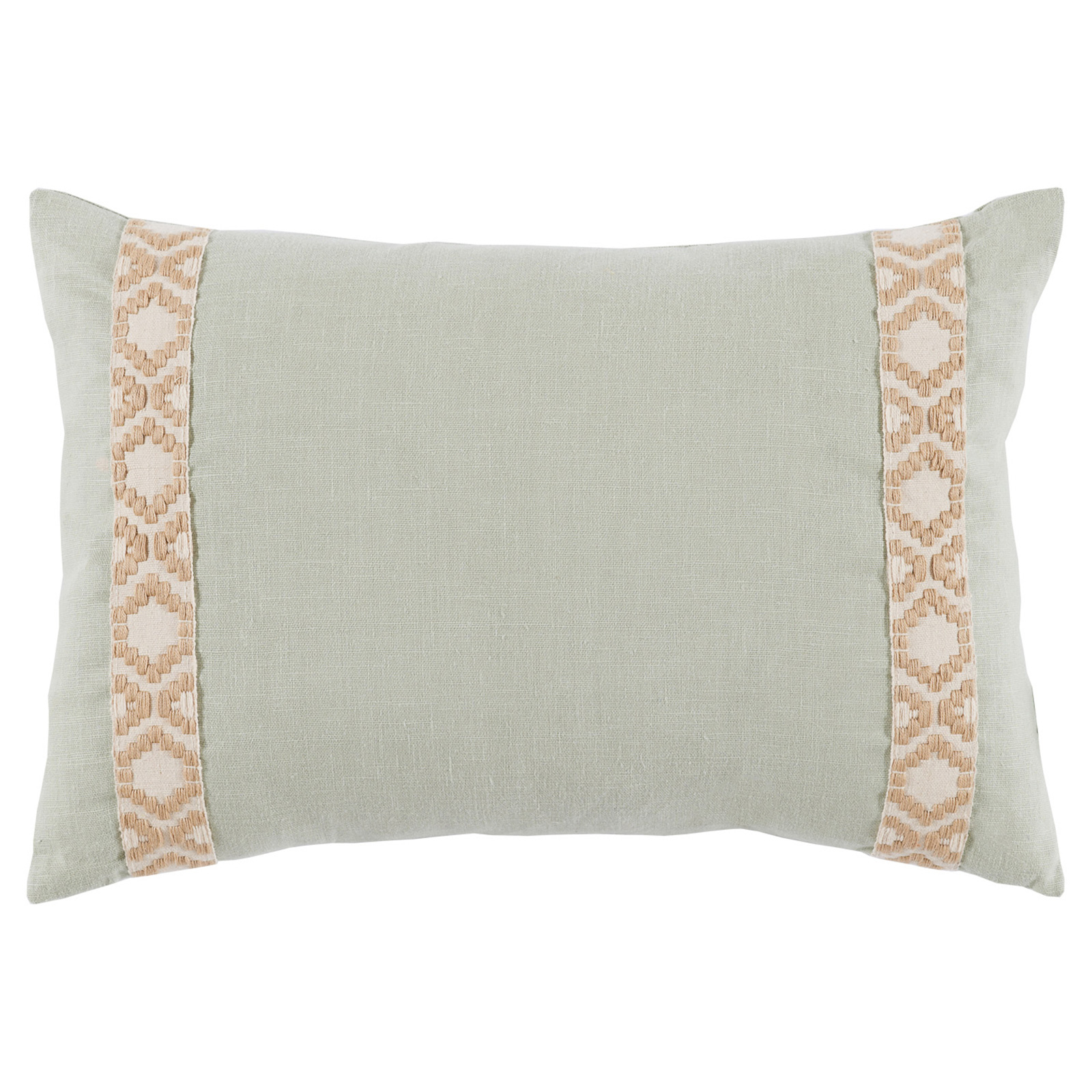 Kaia Global Sea Green Linen Trim Band Pillow - 13x19