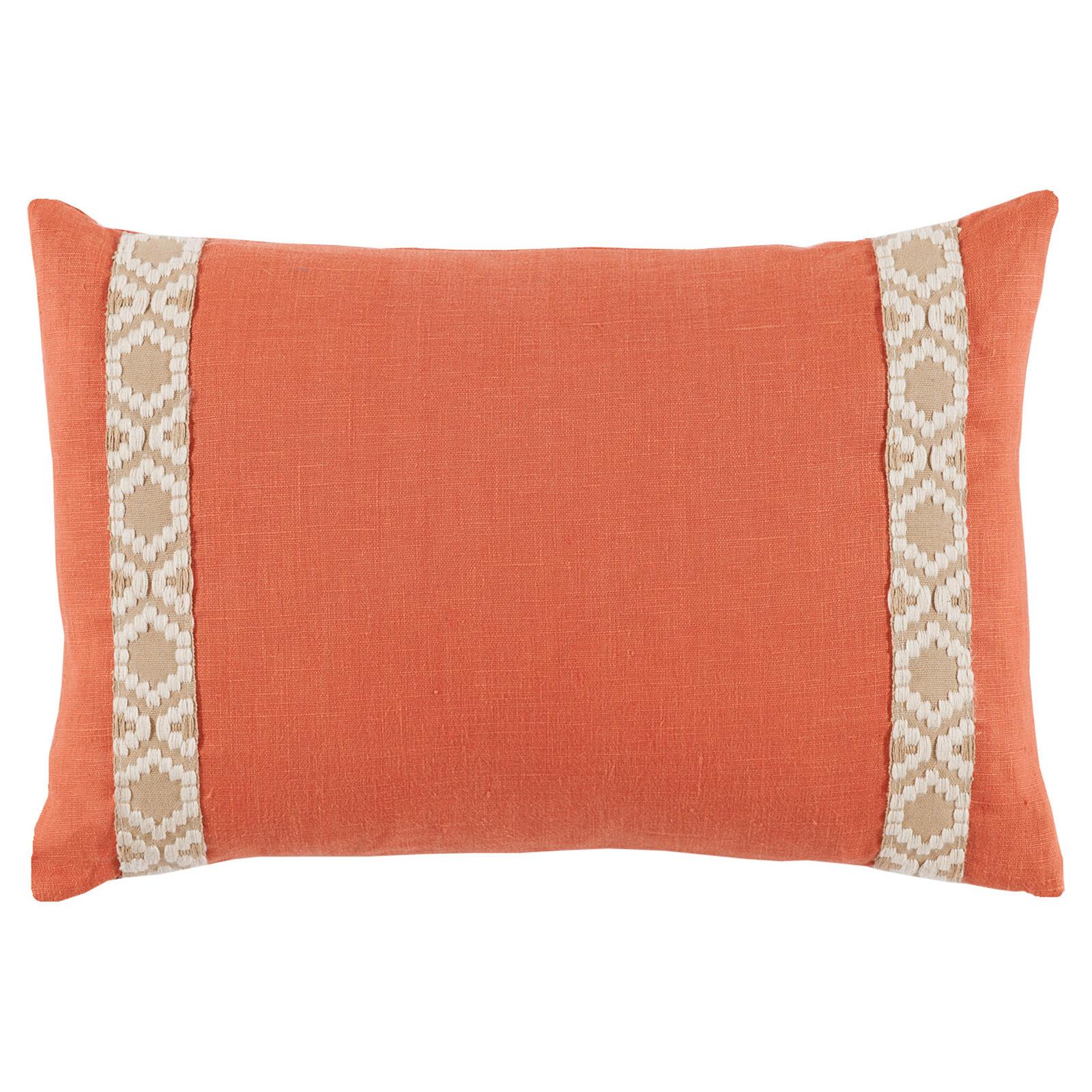 Kaia Global Orange Linen Trim Band Pillow - 13x19