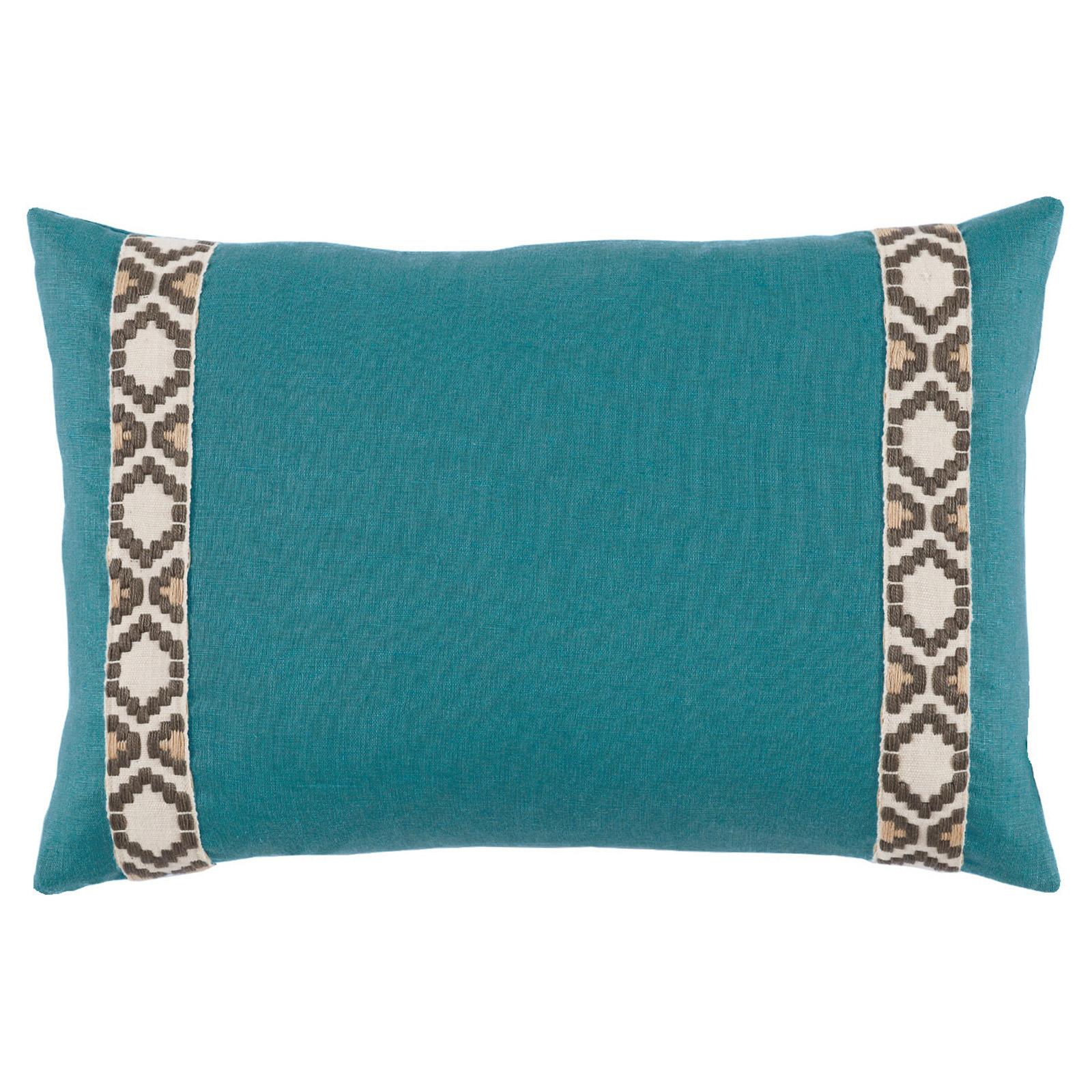 Kaia Global Deep Teal Linen Trim Band Pillow - 13x19