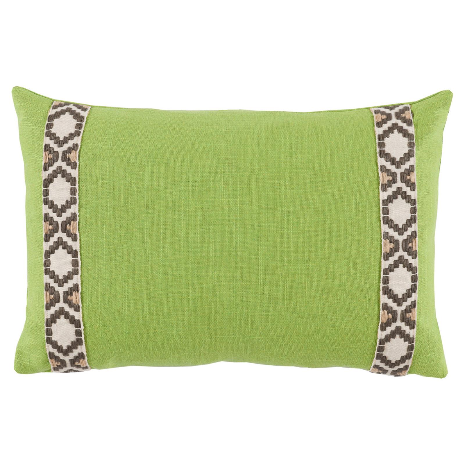 Kaia Global Lime Green Linen Trim Band Pillow - 13x19
