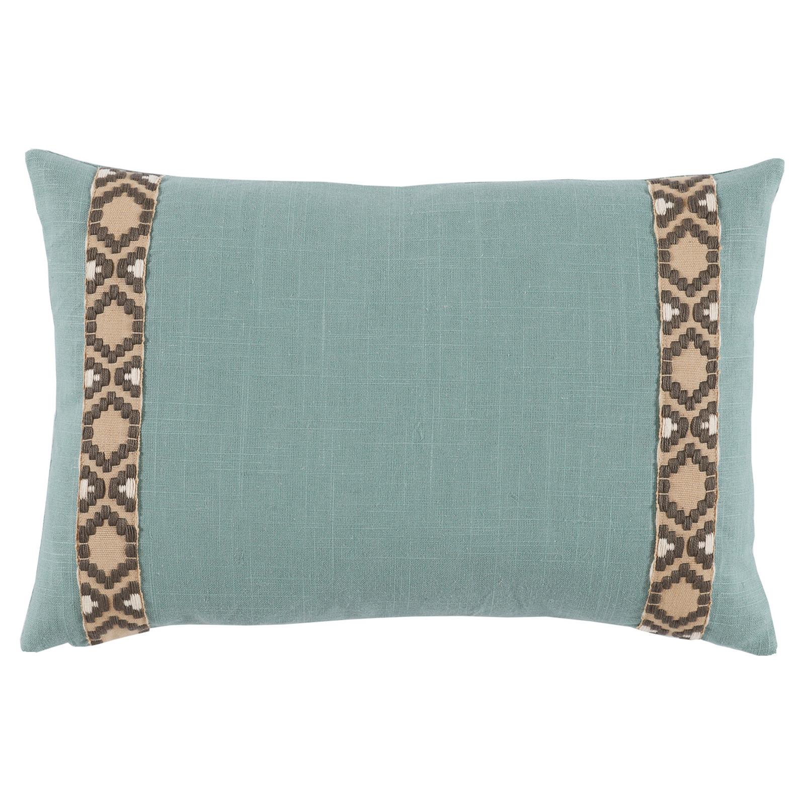 Kaia Global Marine Blue Linen Trim Band Pillow - 13x19
