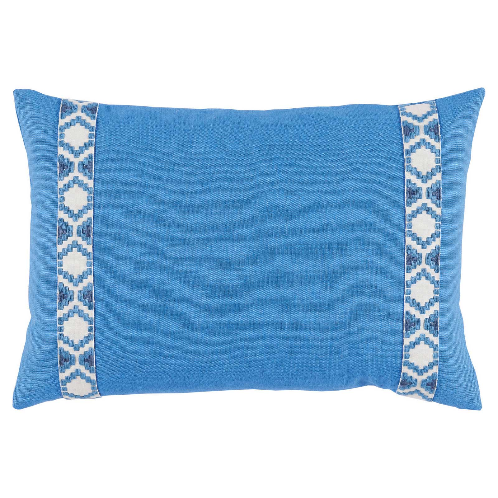 Kaia Global Bright Blue Linen Trim Band Pillow - 13x19