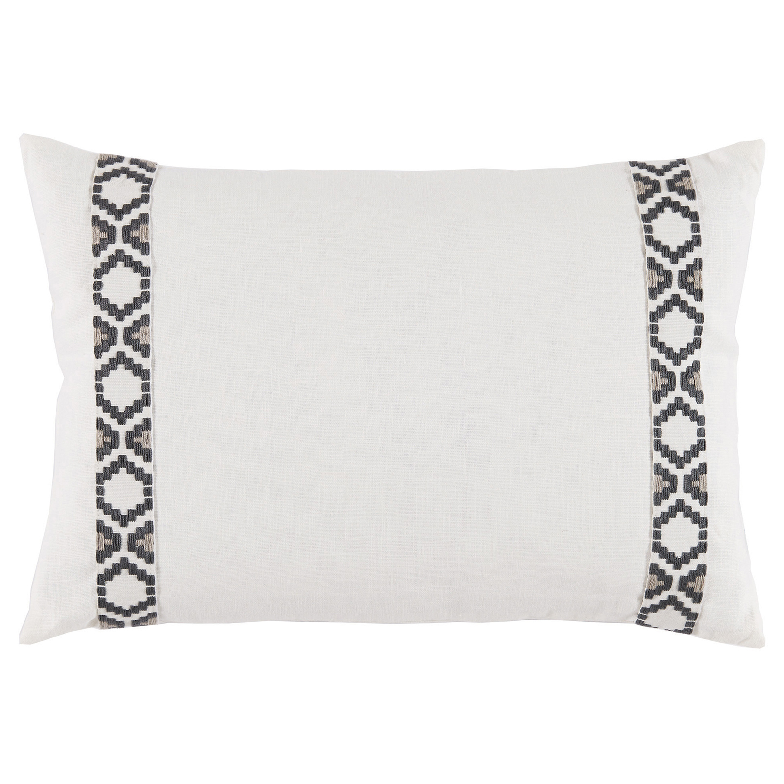 Kaia Global White Linen Grey Trim Band Pillow - 13x19