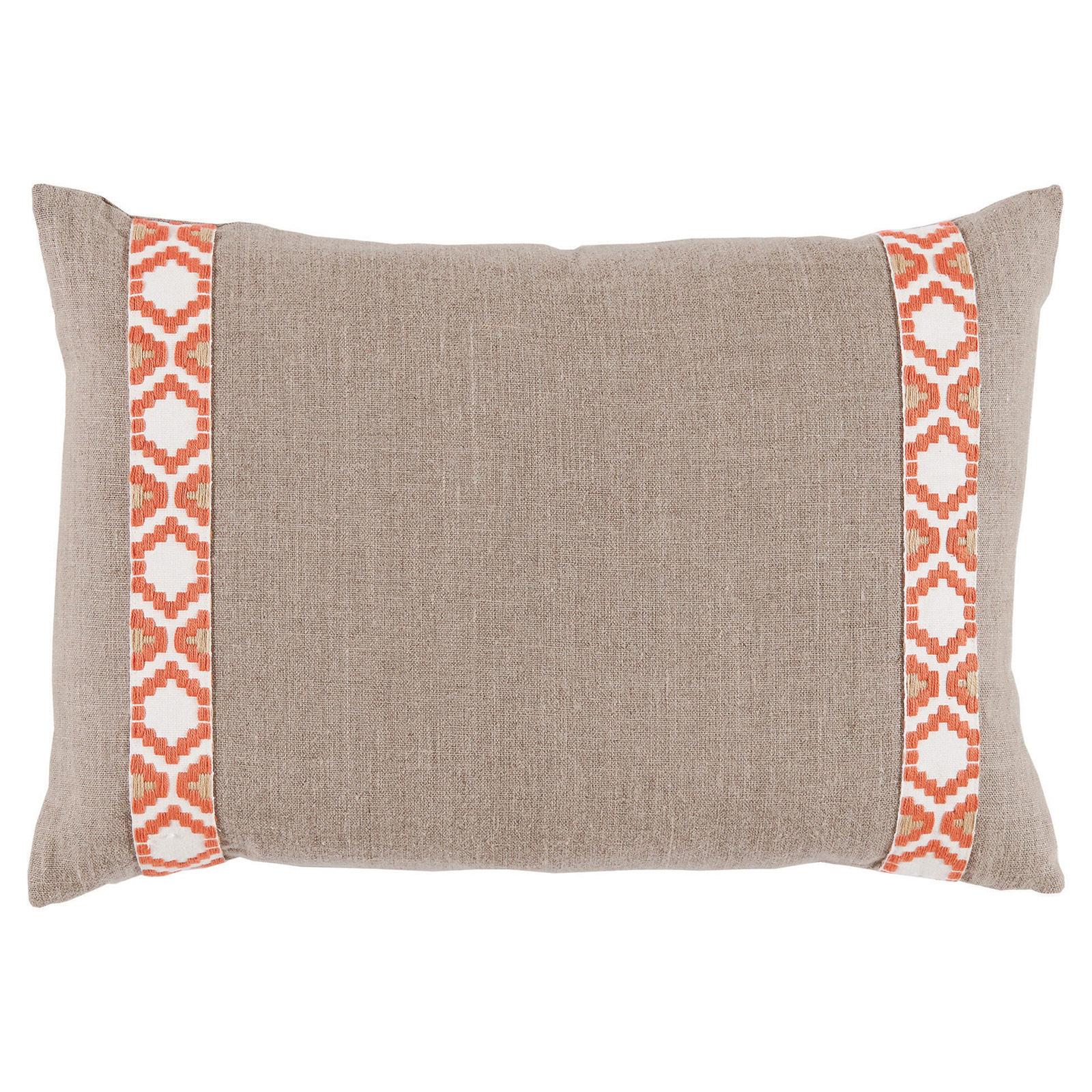 Kaia Global Beige Linen Trim Band Pillow - 13x19