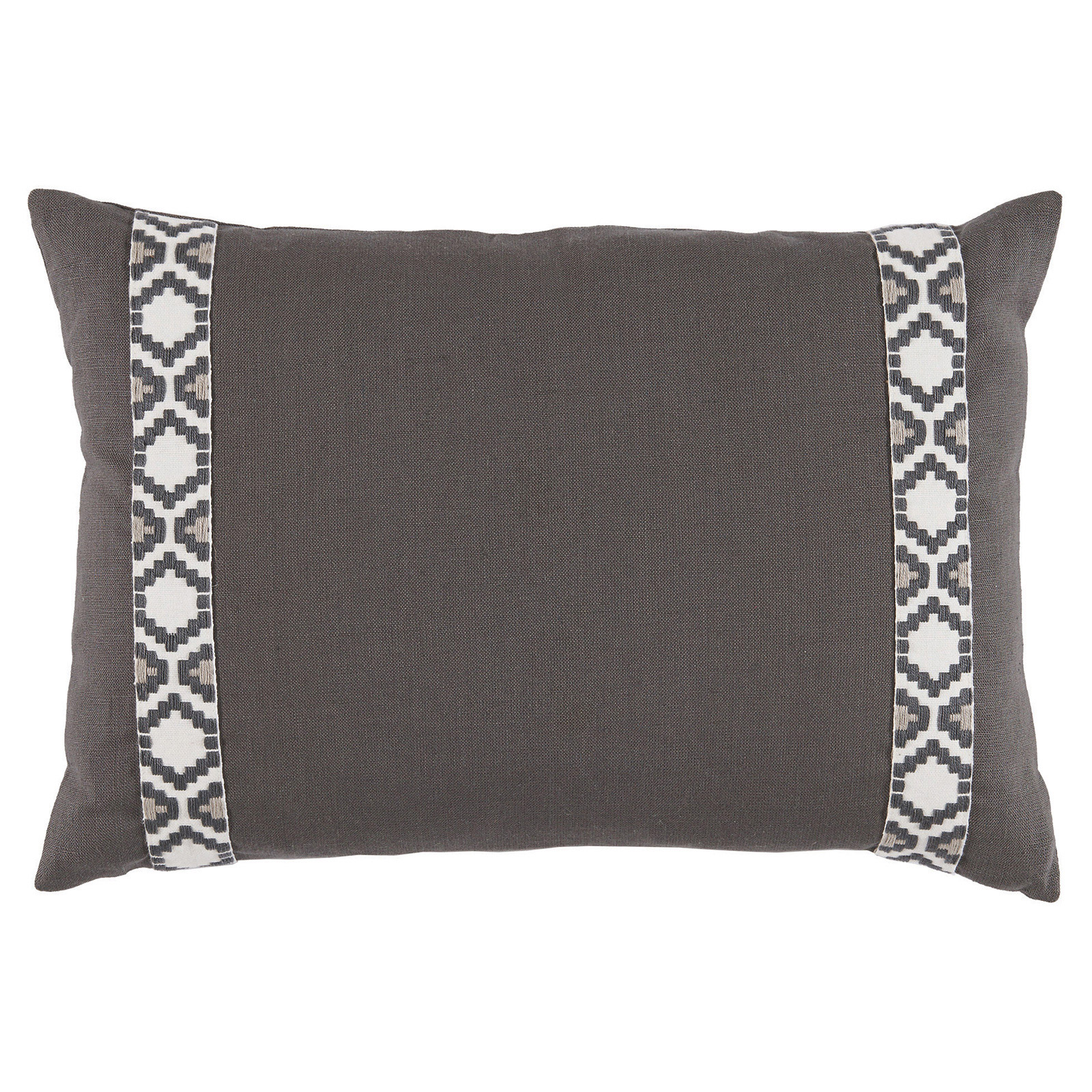Kaia Global Charcoal Linen Trim Band Pillow - 13x19
