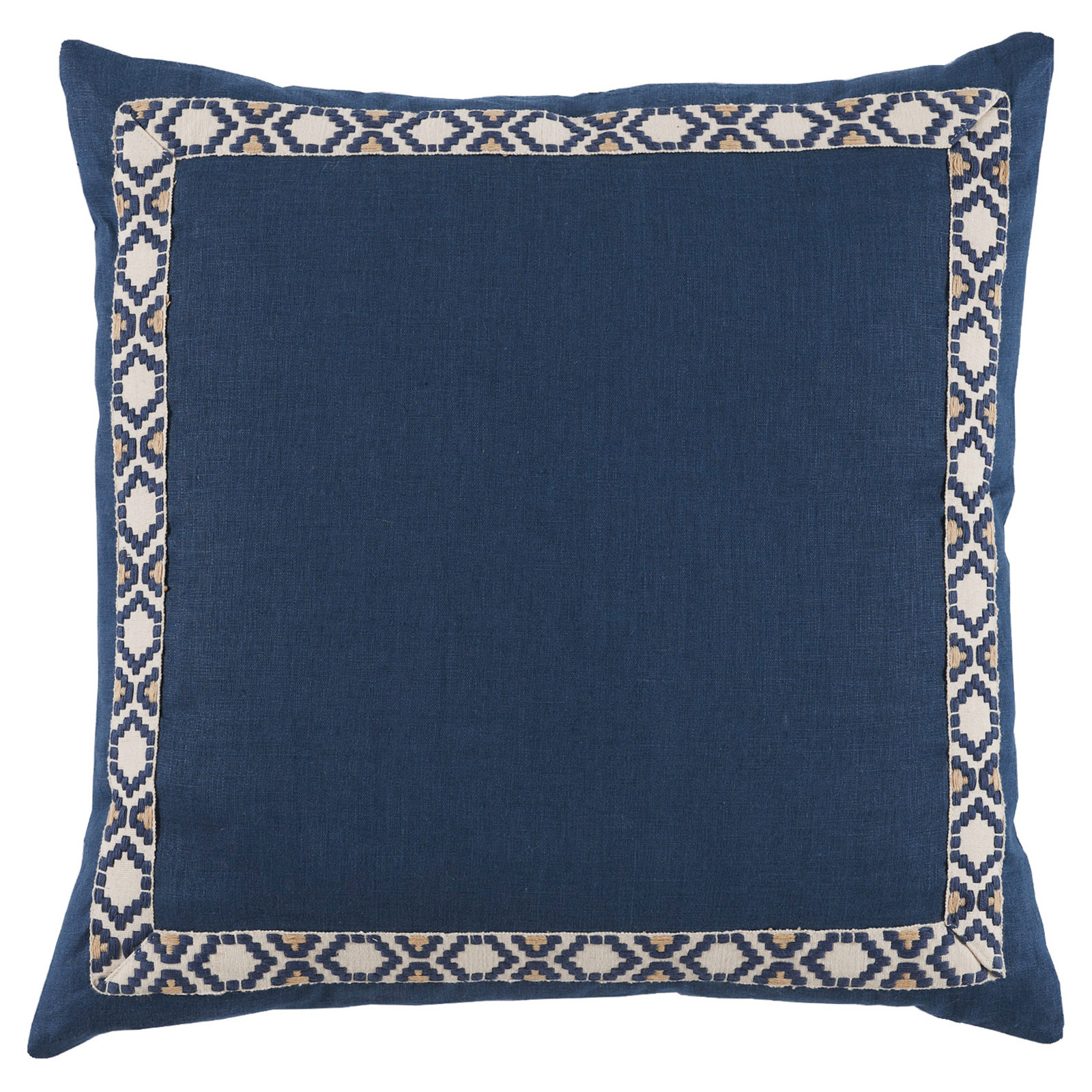 Kaia Global Navy Linen Trim Band Pillow - 24x24