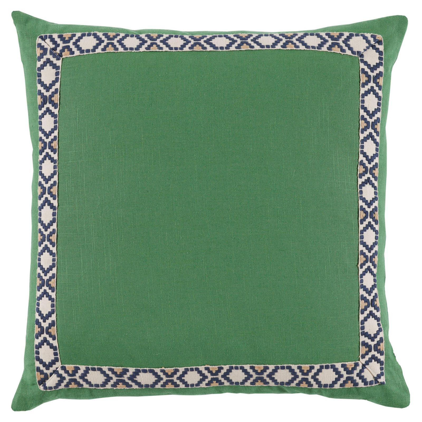 Kaia Global Green Linen Trim Band Pillow - 24x24