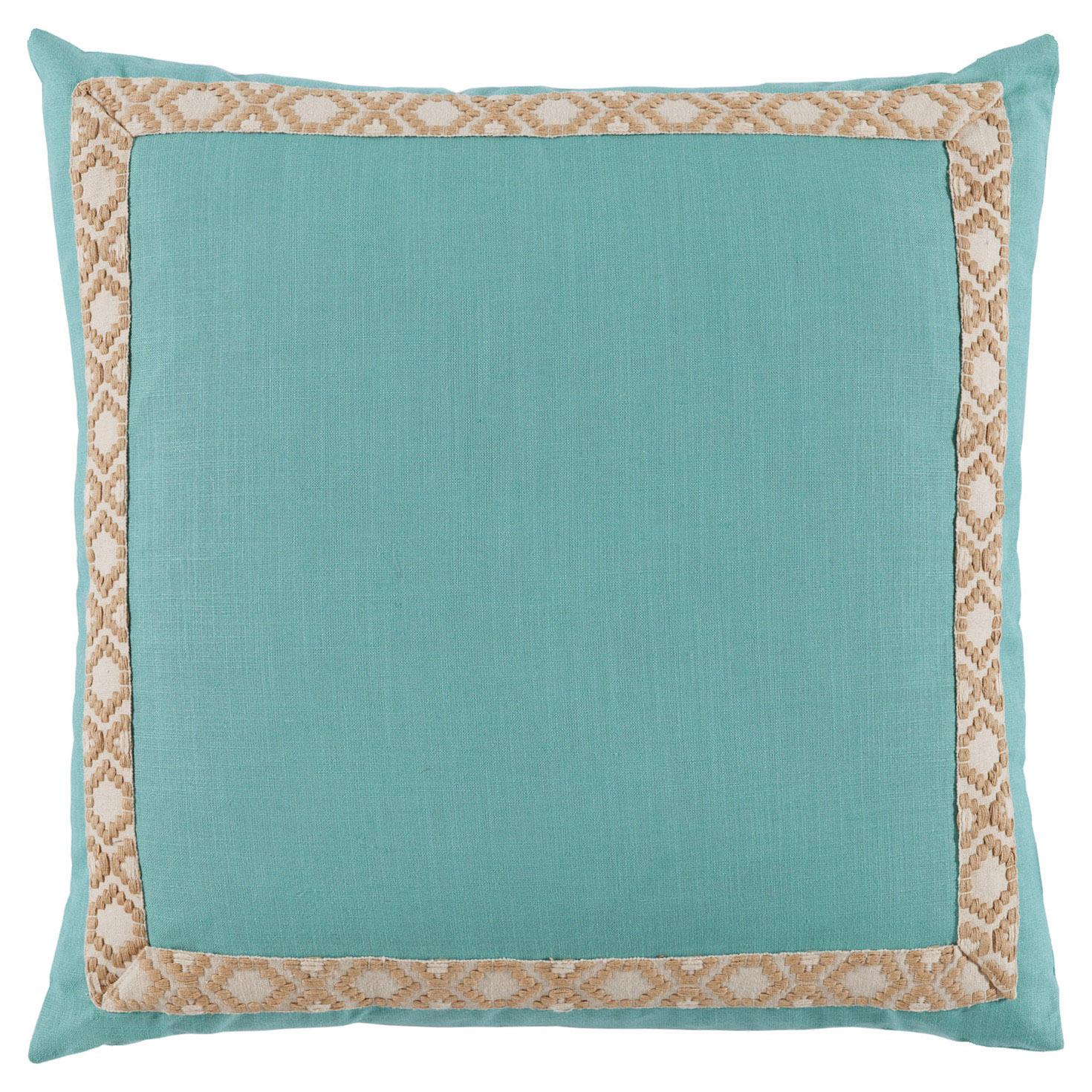 Kaia Global Aqua Linen Trim Band Pillow - 24x24