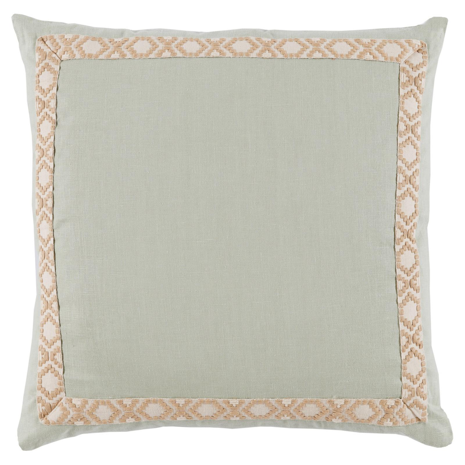 Kaia Global Sea Green Linen Trim Band Pillow - 24x24