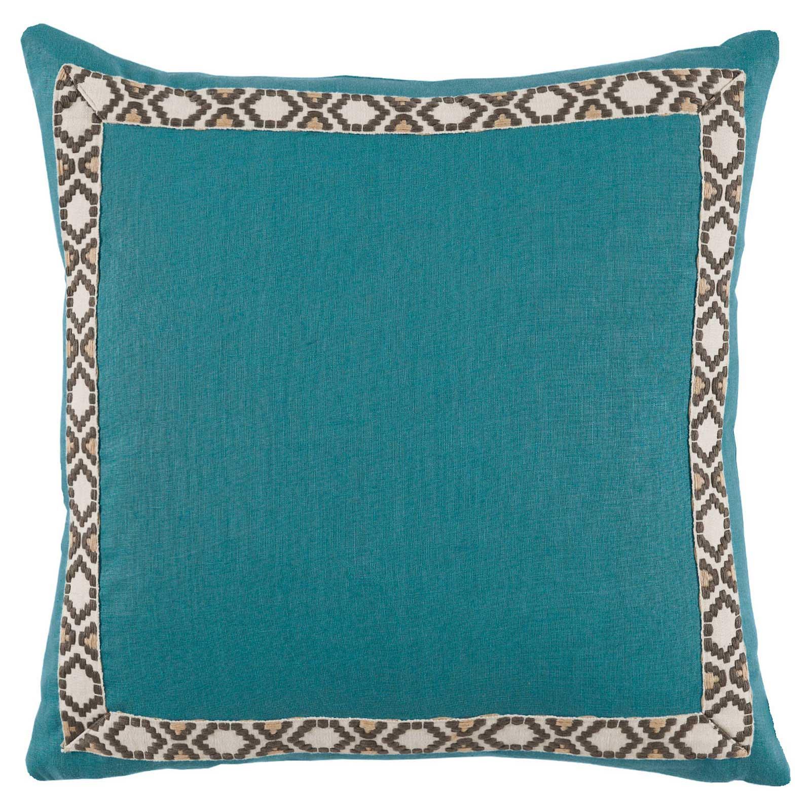 Kaia Global Deep Teal Linen Trim Band Pillow - 24x24
