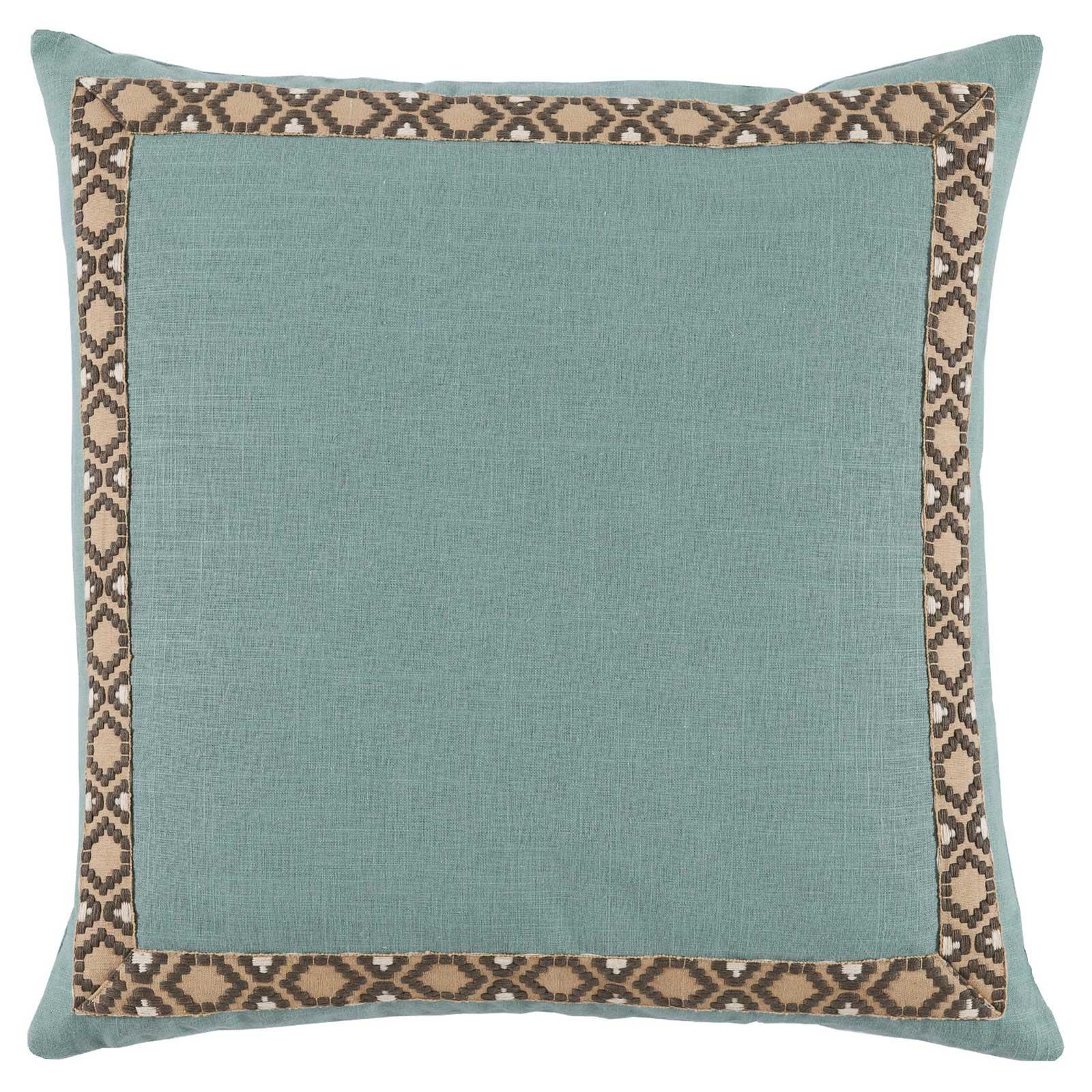Kaia Global Marine Blue Linen Trim Band Pillow - 24x24