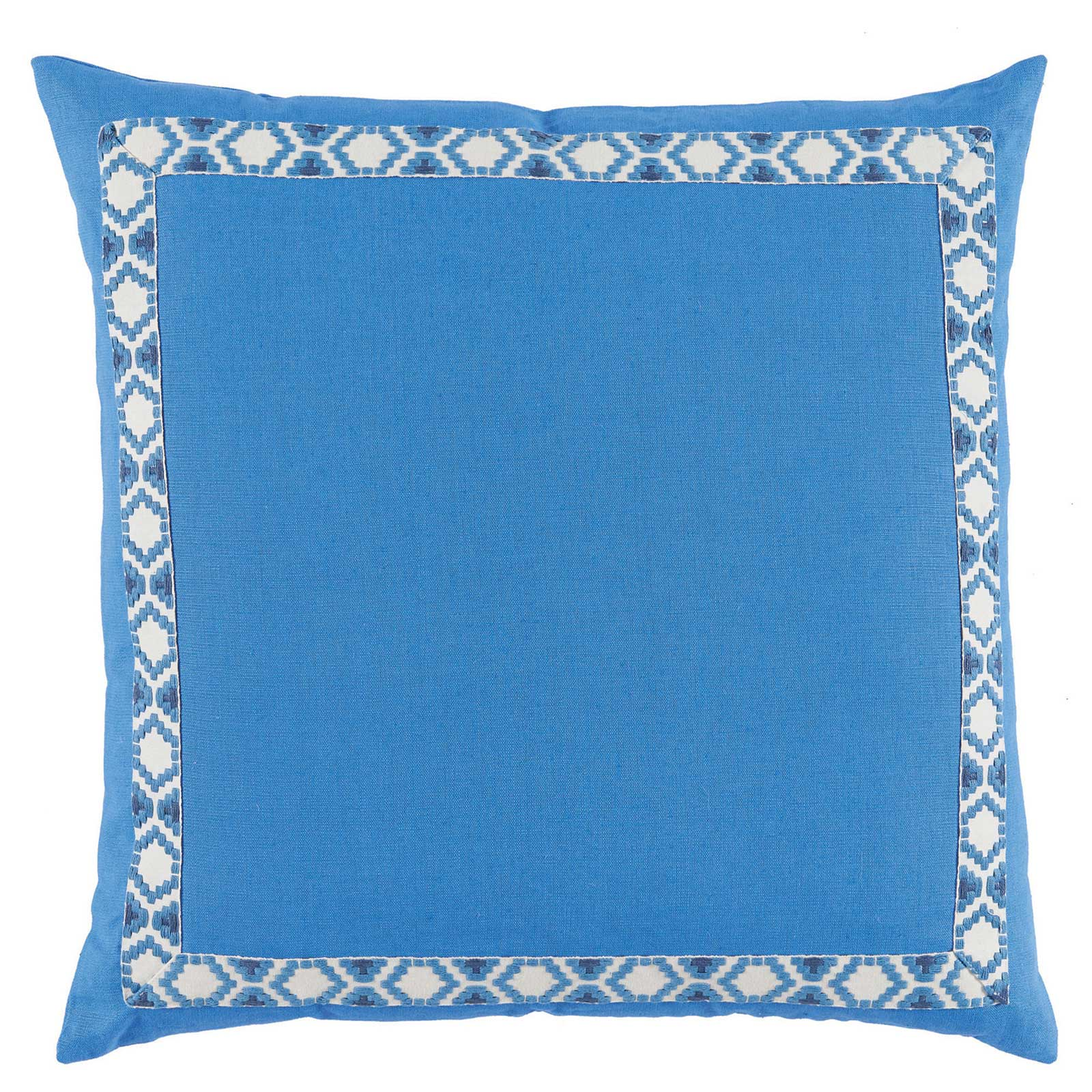 Kaia Global Bright Blue Linen Trim Band Pillow - 24x24