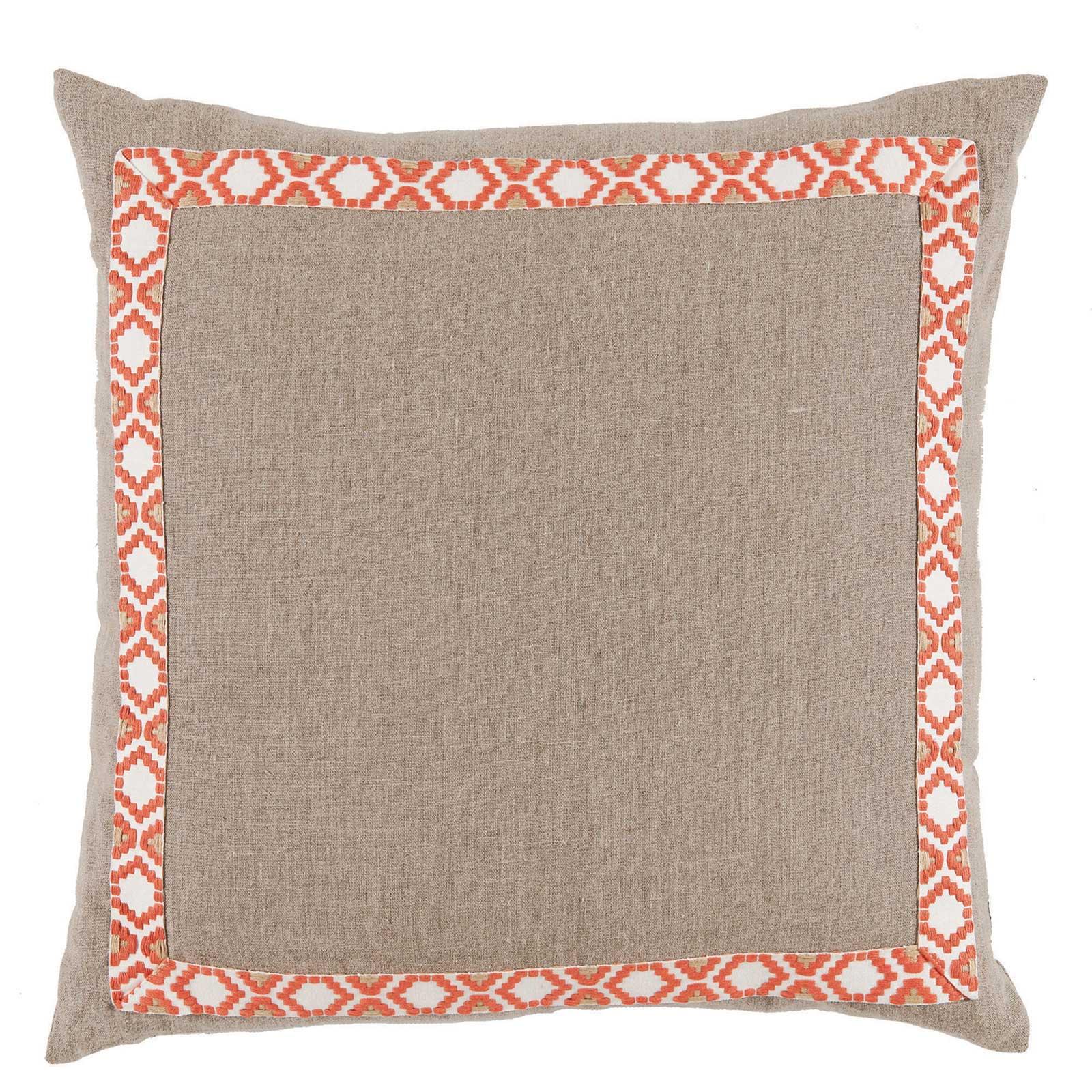 Kaia Global Beige Linen Trim Band Pillow - 24x24