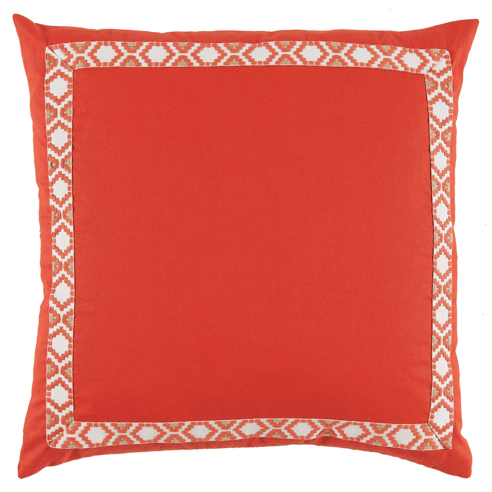 Kaia Global Bright Coral Linen Trim Band Pillow - 24x24
